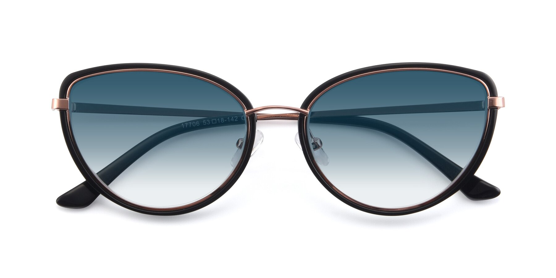 Folded Front of 17706 in Black-Rose Gold with Blue Gradient Lenses