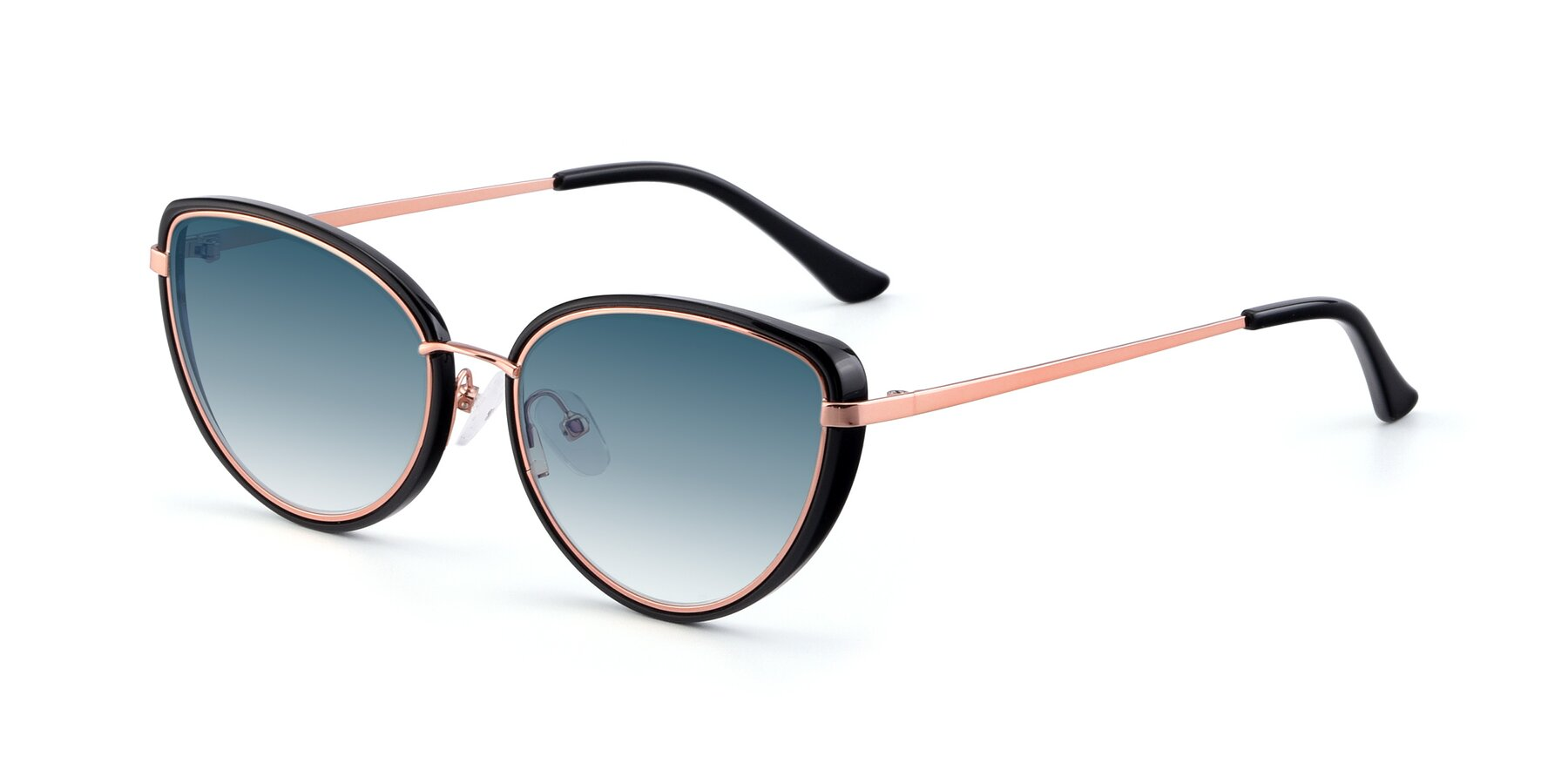 Angle of 17706 in Black-Rose Gold with Blue Gradient Lenses