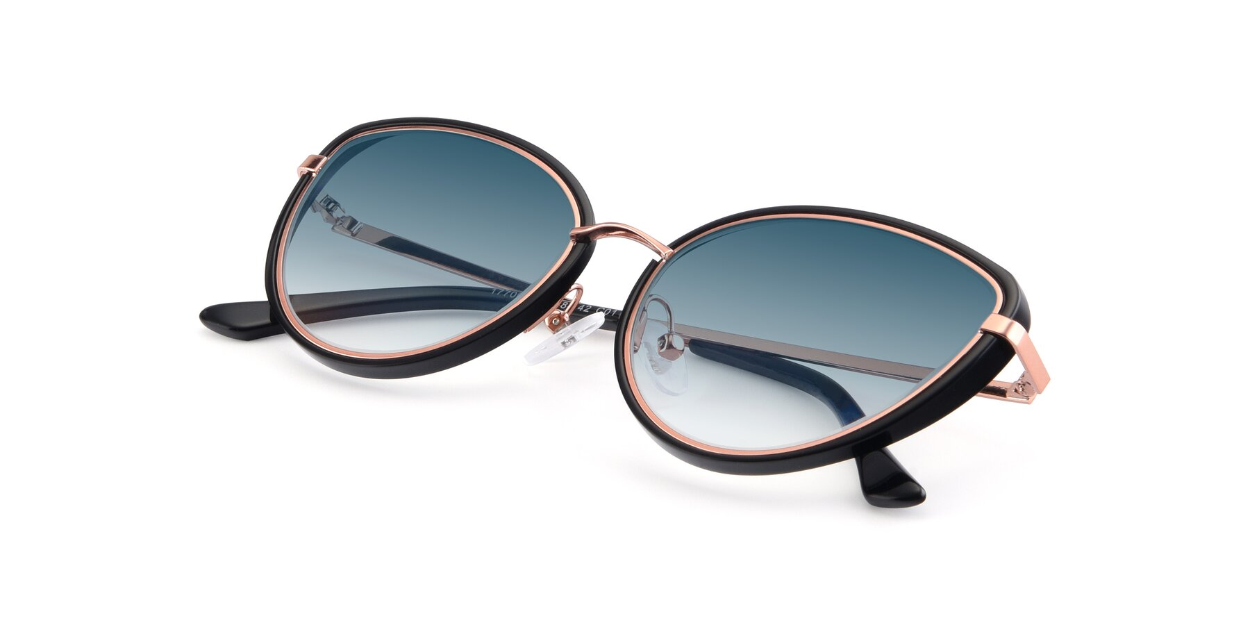 View of 17706 in Black-Rose Gold with Blue Gradient Lenses