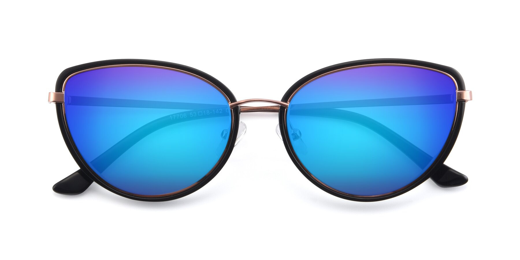 Folded Front of 17706 in Black-Rose Gold with Blue Mirrored Lenses