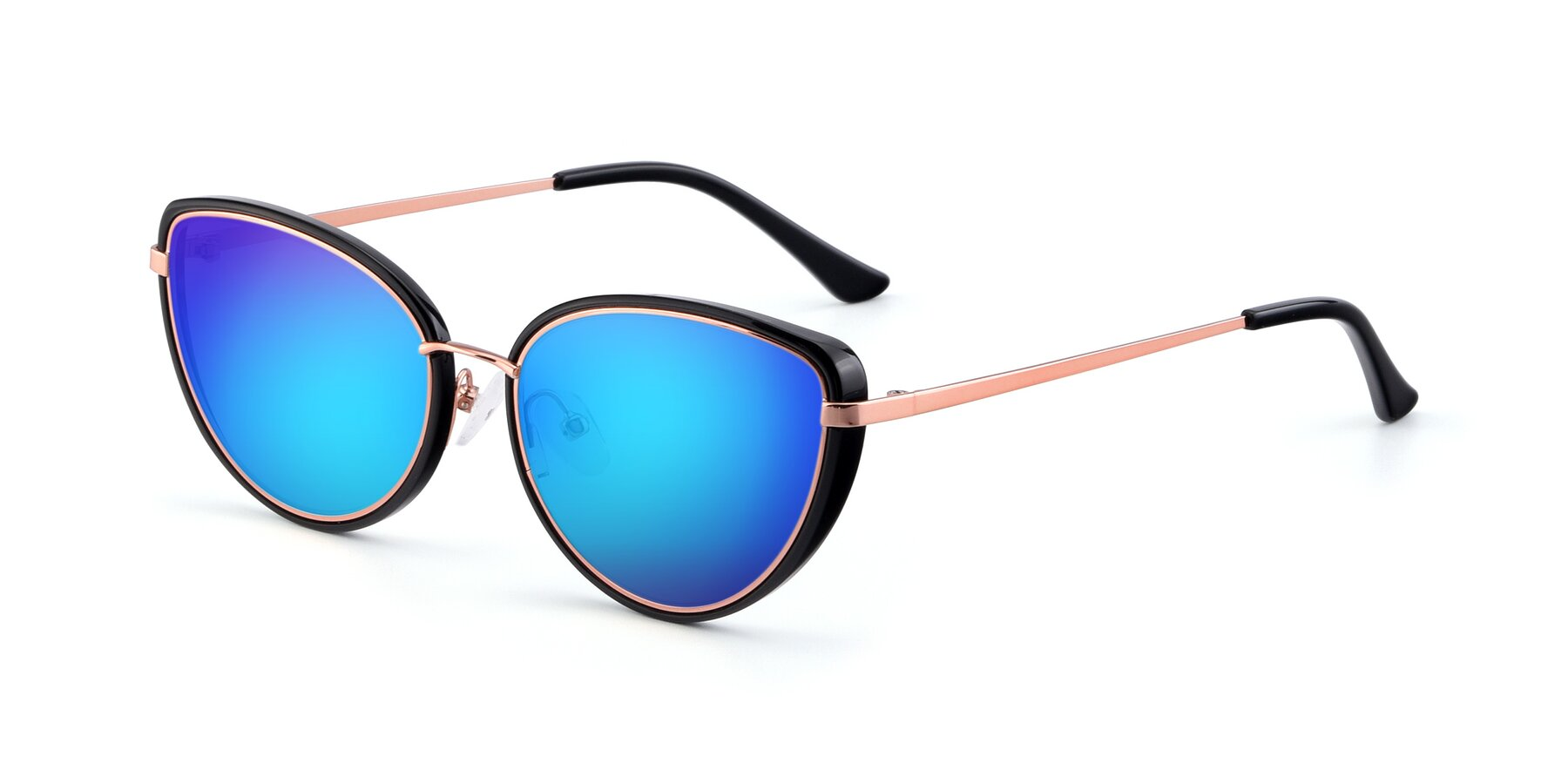 Angle of 17706 in Black-Rose Gold with Blue Mirrored Lenses