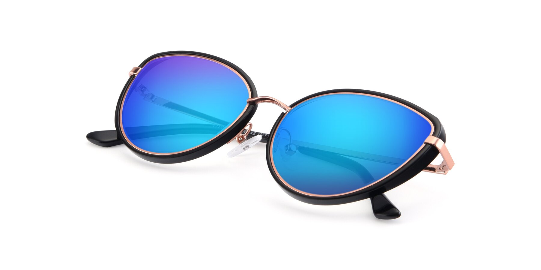 View of 17706 in Black-Rose Gold with Blue Mirrored Lenses