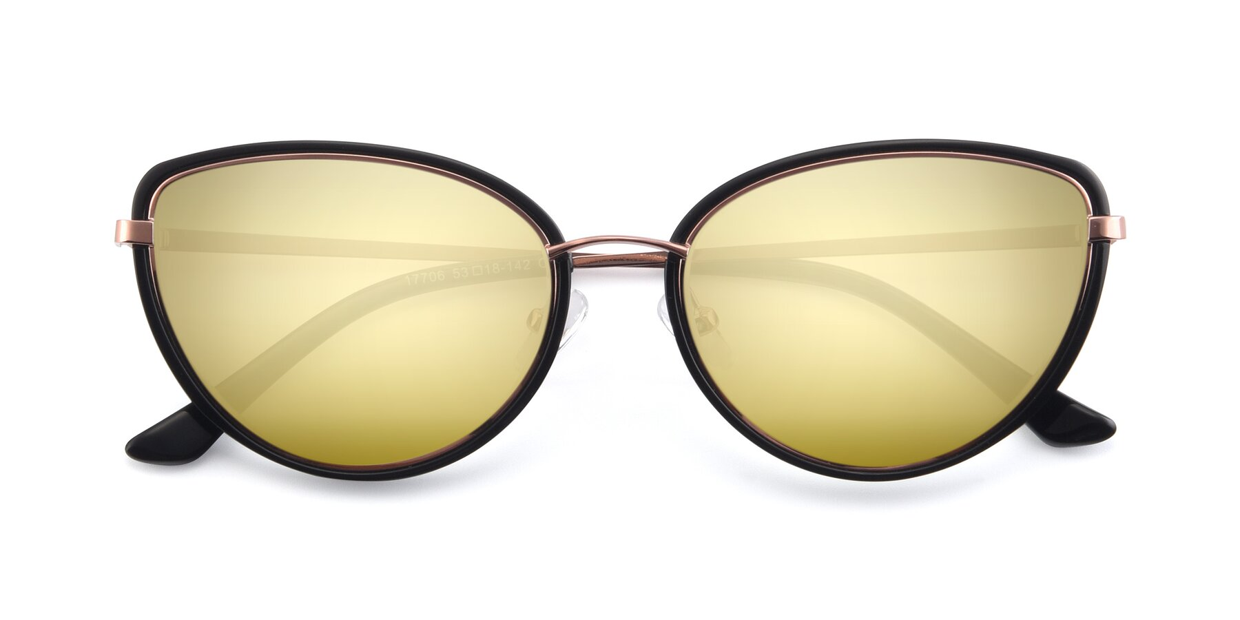 Folded Front of 17706 in Black-Rose Gold with Gold Mirrored Lenses