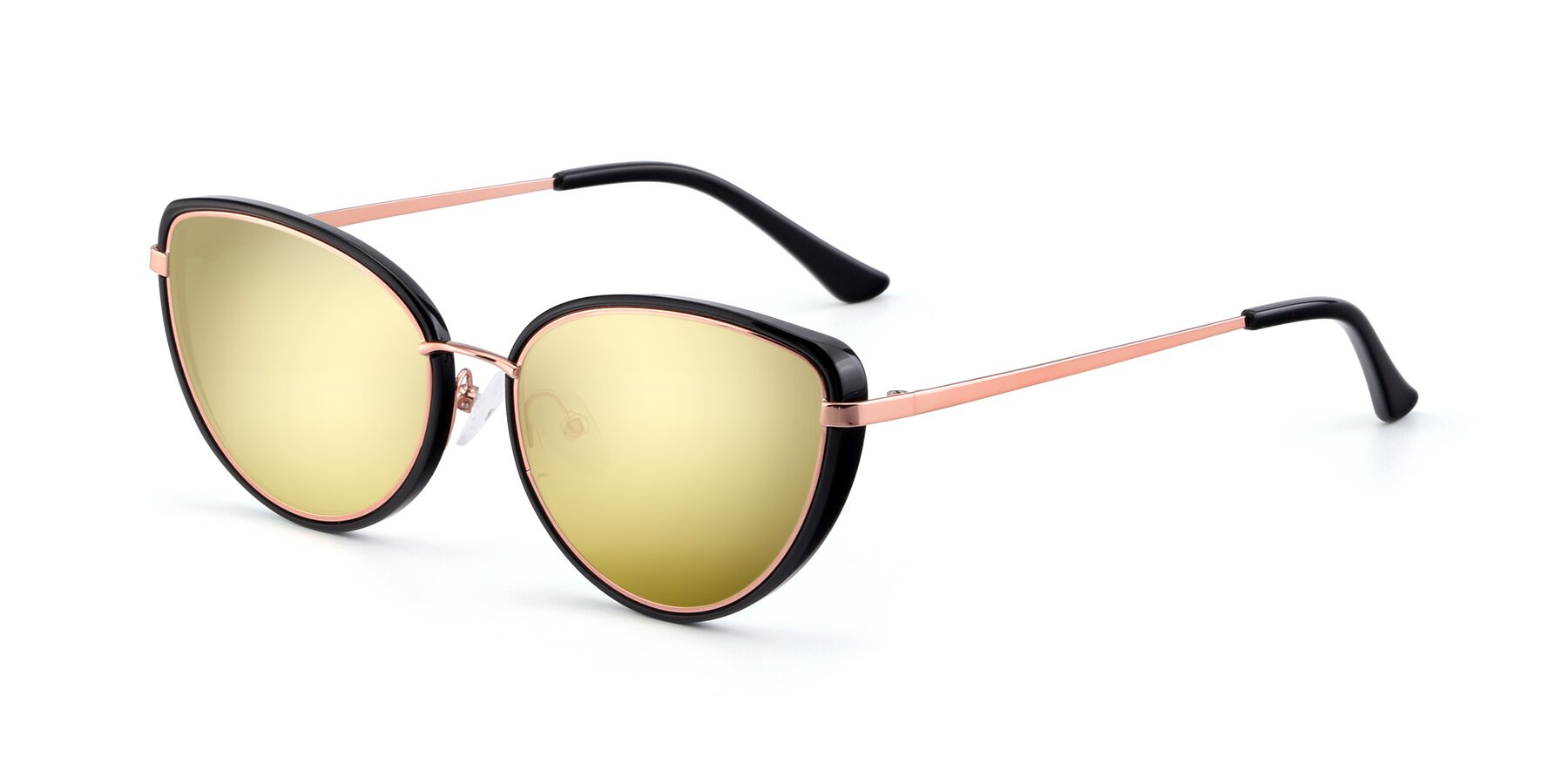 Angle of 17706 in Black-Rose Gold with Gold Mirrored Lenses