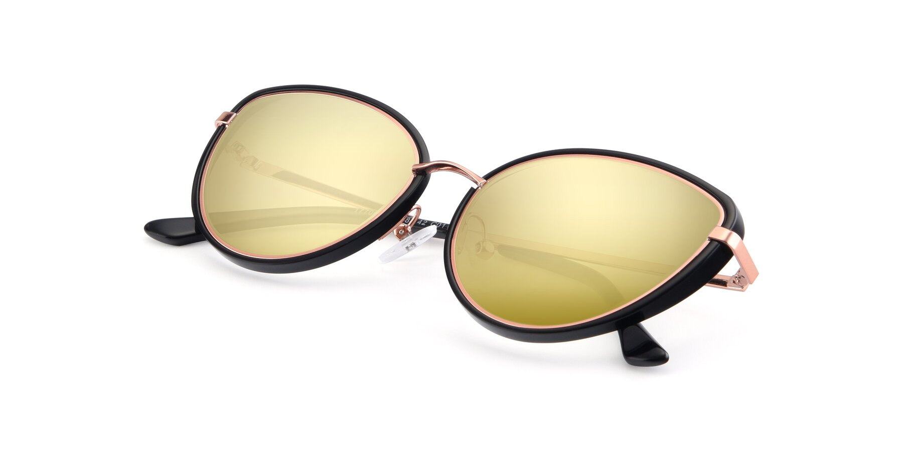 View of 17706 in Black-Rose Gold with Gold Mirrored Lenses