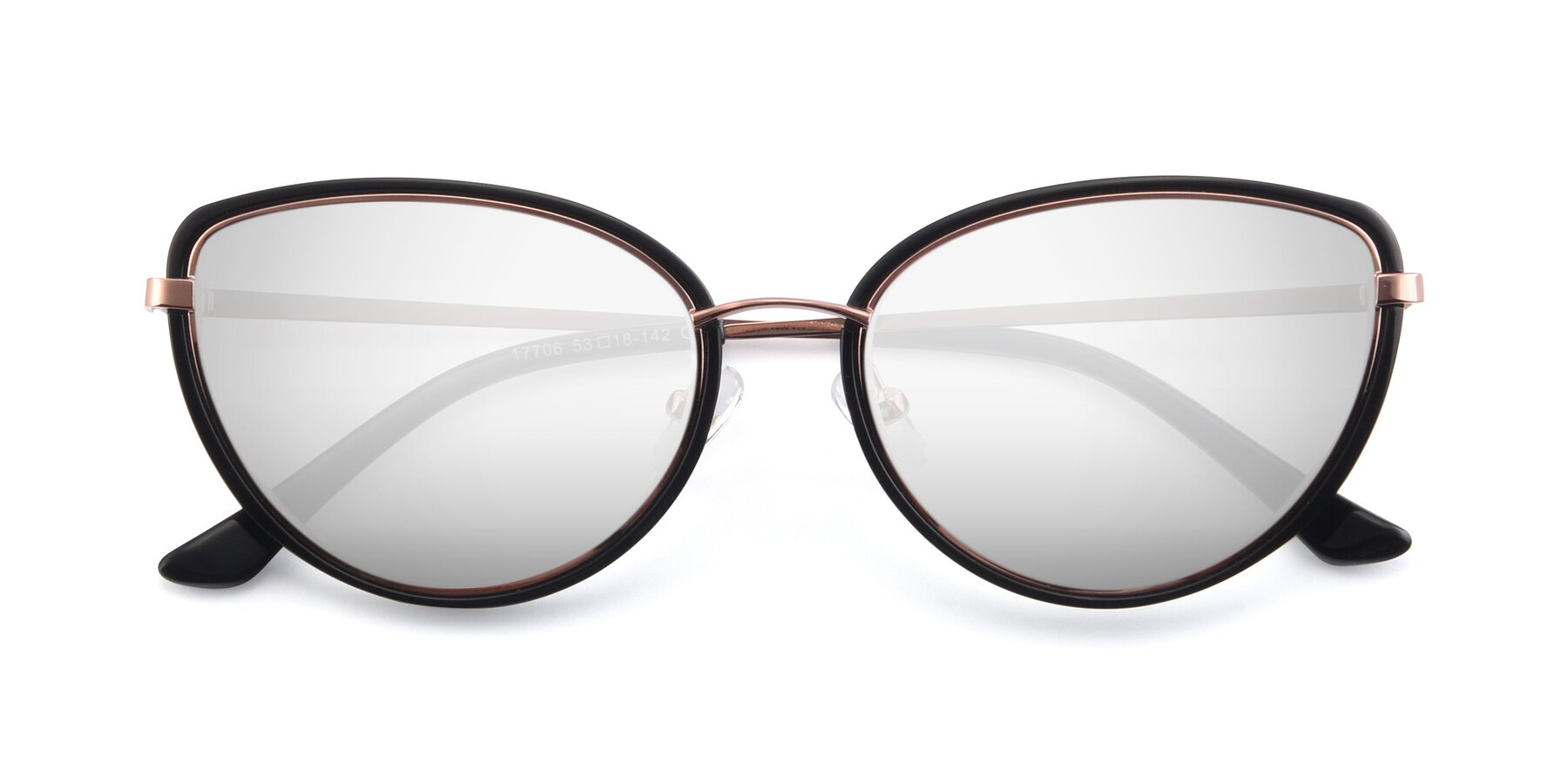 Folded Front of 17706 in Black-Rose Gold with Silver Mirrored Lenses