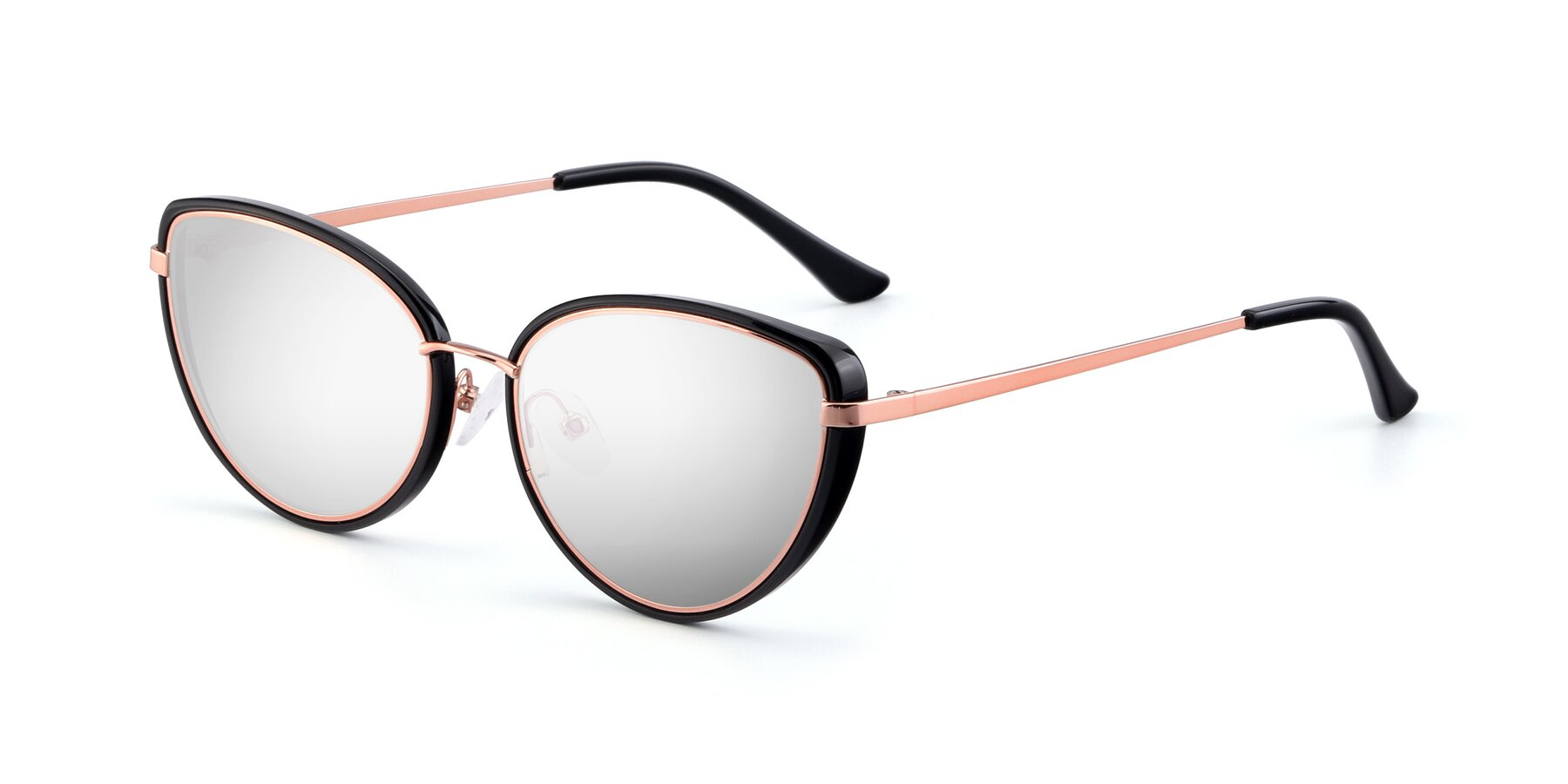 Angle of 17706 in Black-Rose Gold with Silver Mirrored Lenses