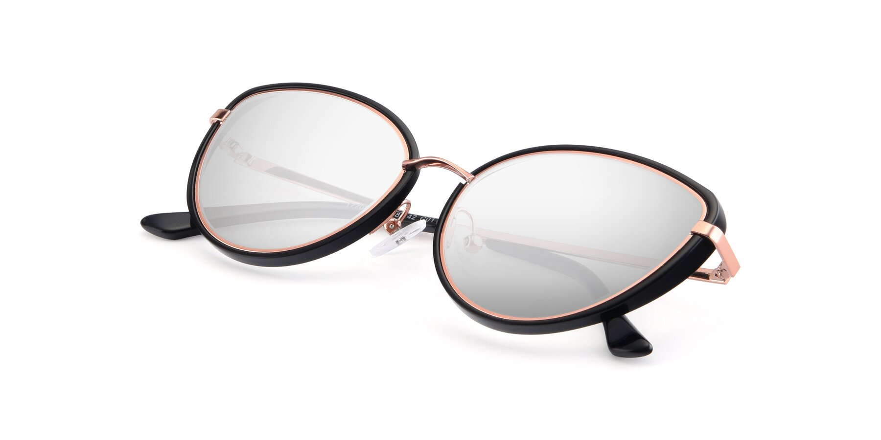 View of 17706 in Black-Rose Gold with Silver Mirrored Lenses