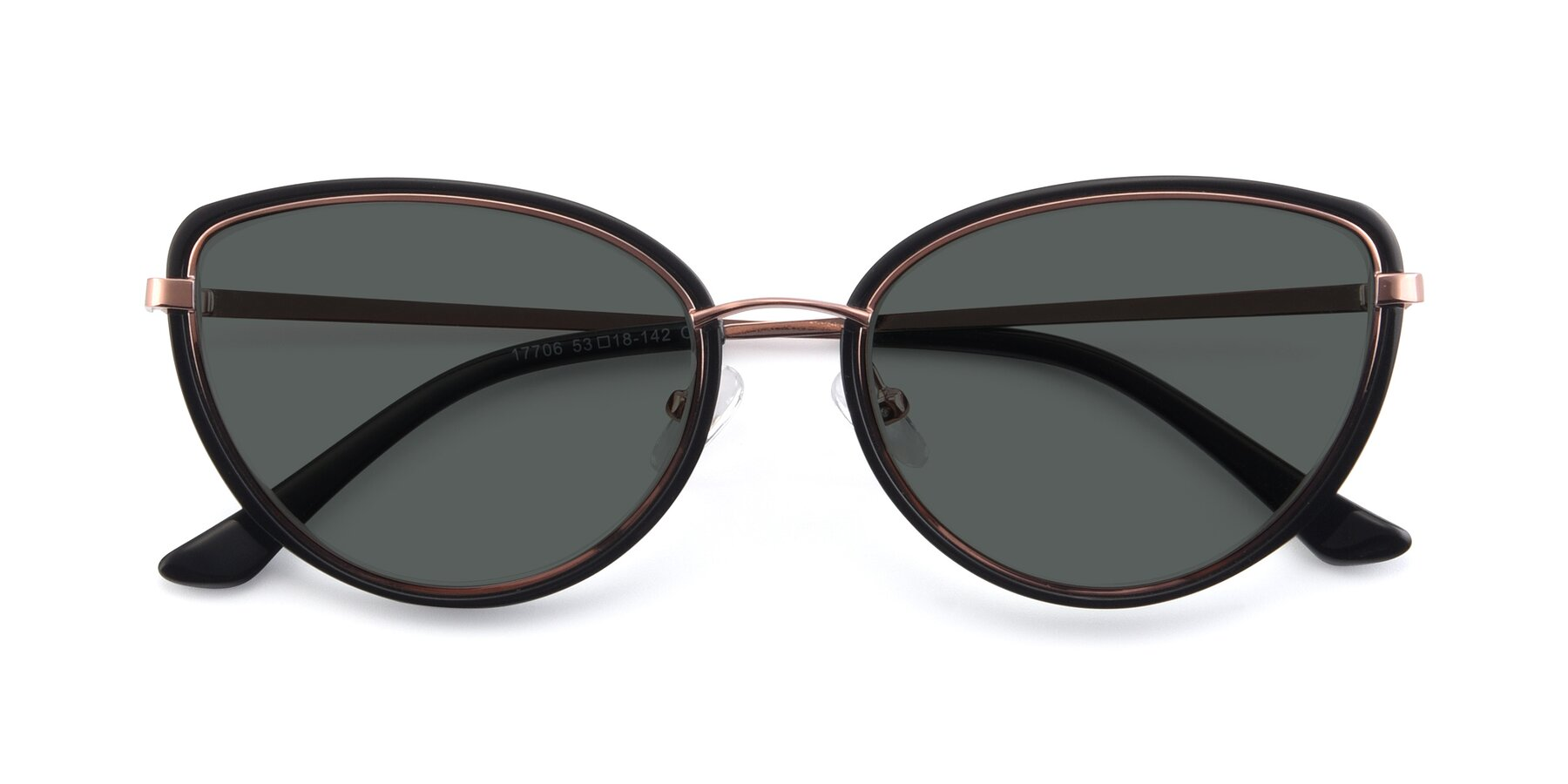 Folded Front of 17706 in Black-Rose Gold with Gray Polarized Lenses