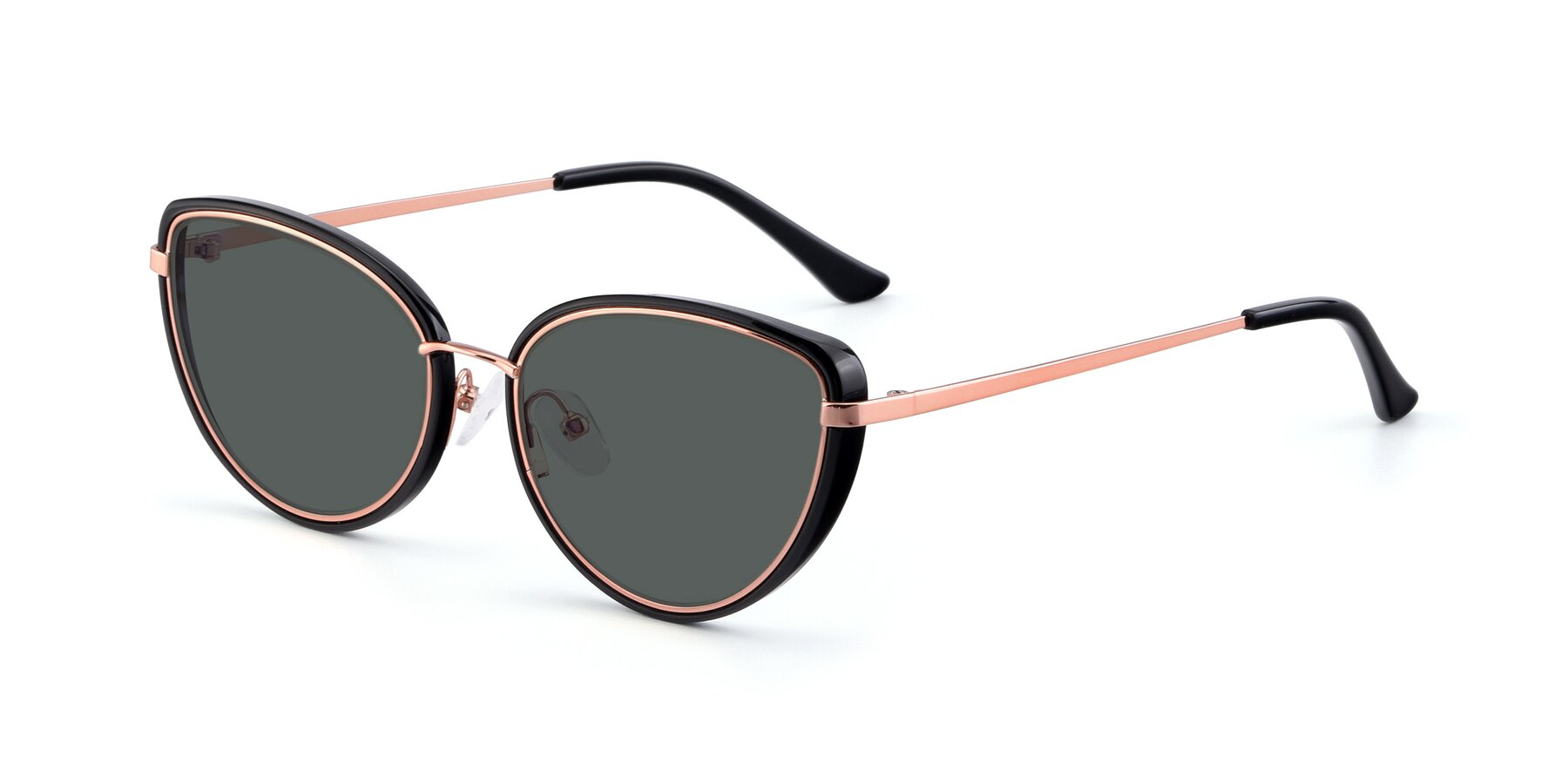 Angle of 17706 in Black-Rose Gold with Gray Polarized Lenses