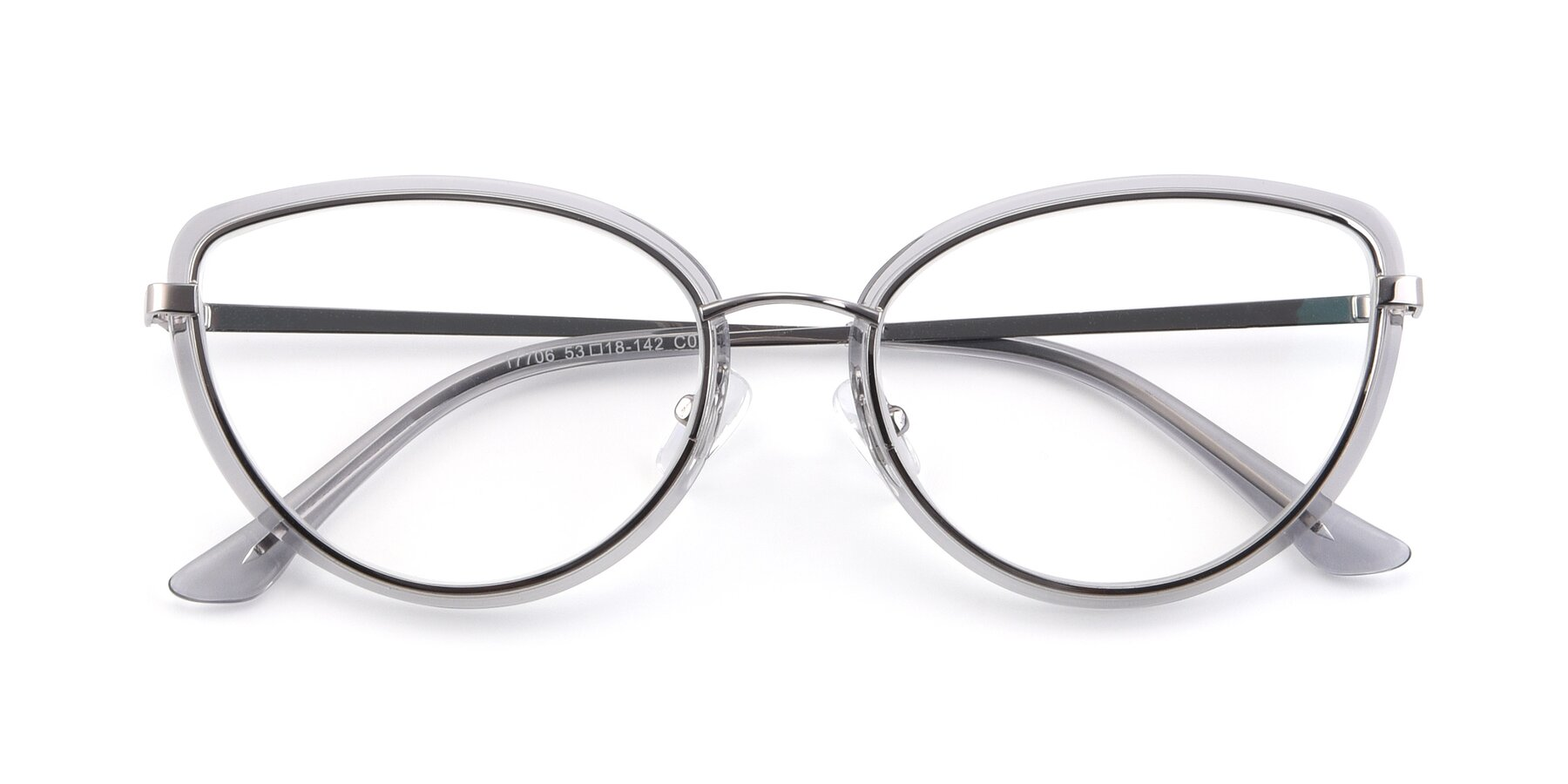 Folded Front of 17706 in Transparent Grey-Silver with Clear Eyeglass Lenses