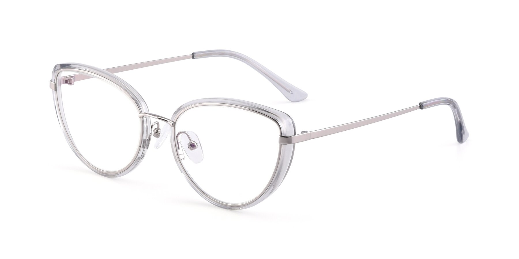 Angle of 17706 in Transparent Grey-Silver with Clear Eyeglass Lenses
