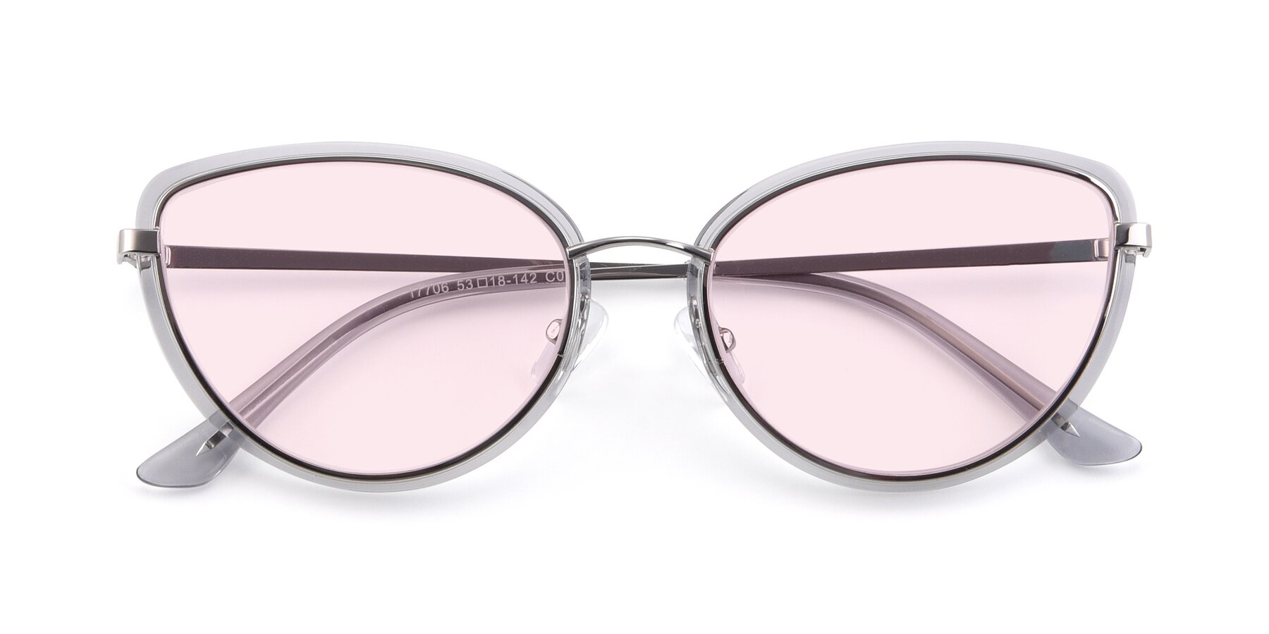 Folded Front of 17706 in Transparent Grey-Silver with Light Pink Tinted Lenses