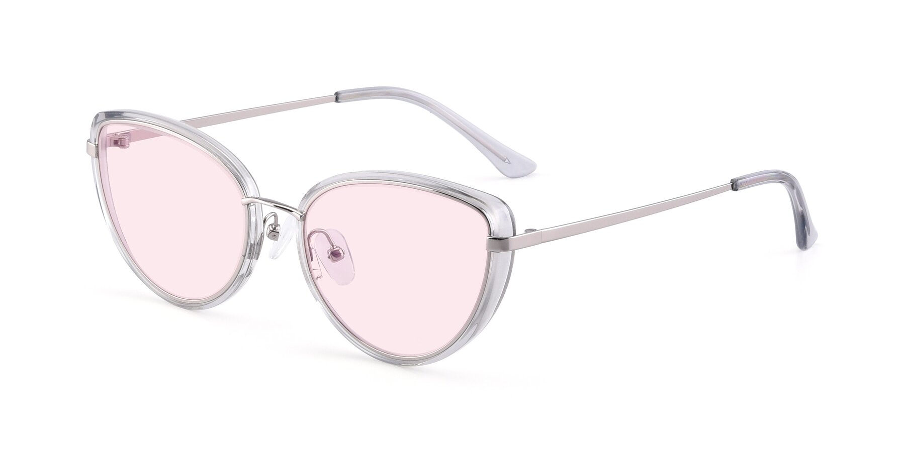 Angle of 17706 in Transparent Grey-Silver with Light Pink Tinted Lenses