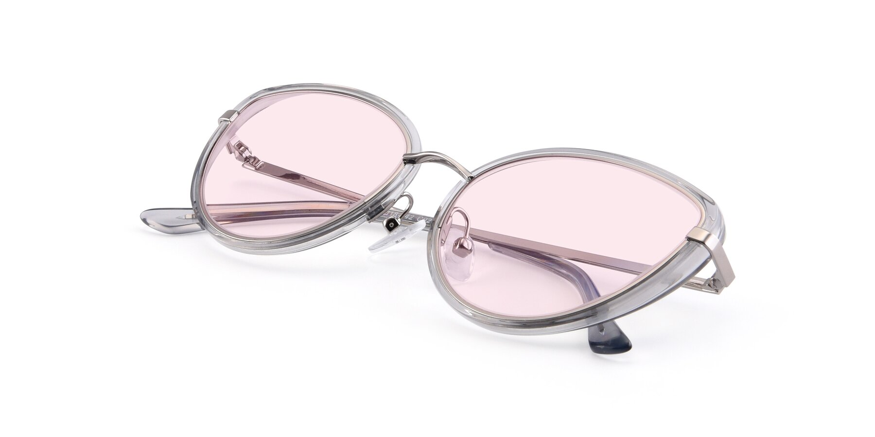 View of 17706 in Transparent Grey-Silver with Light Pink Tinted Lenses