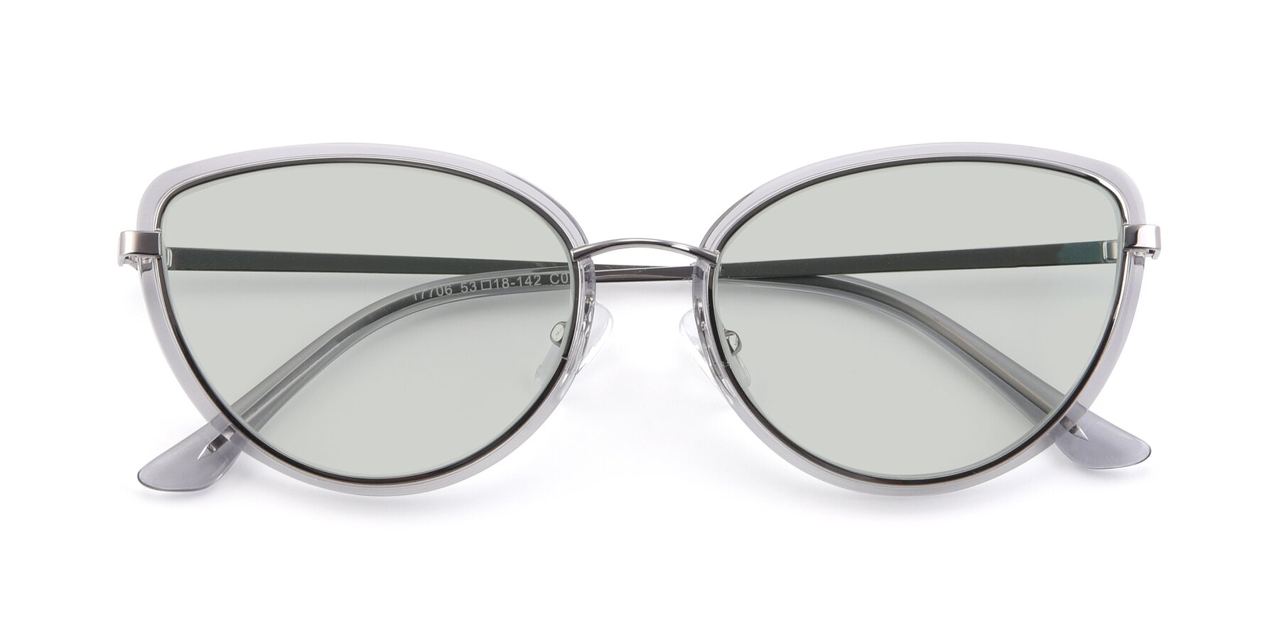 Folded Front of 17706 in Transparent Grey-Silver with Light Green Tinted Lenses