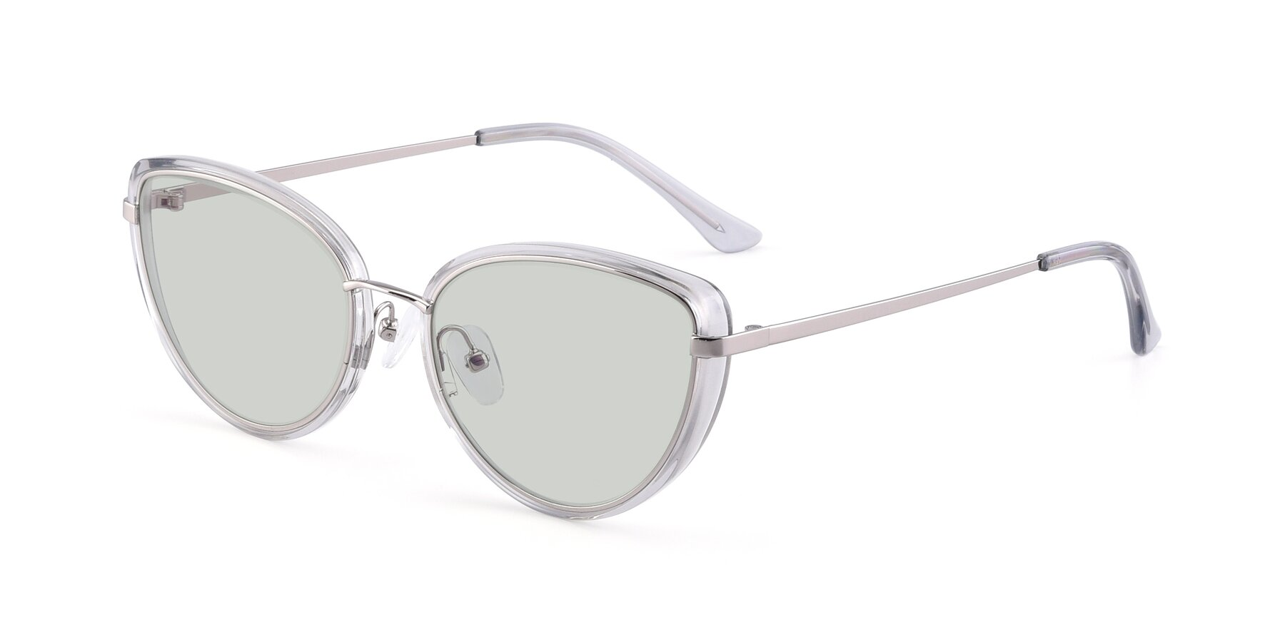 Angle of 17706 in Transparent Grey-Silver with Light Green Tinted Lenses