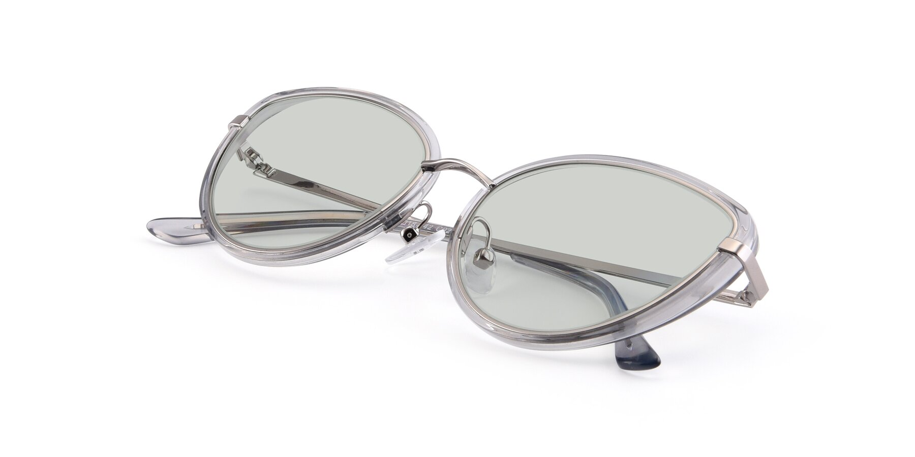 View of 17706 in Transparent Grey-Silver with Light Green Tinted Lenses