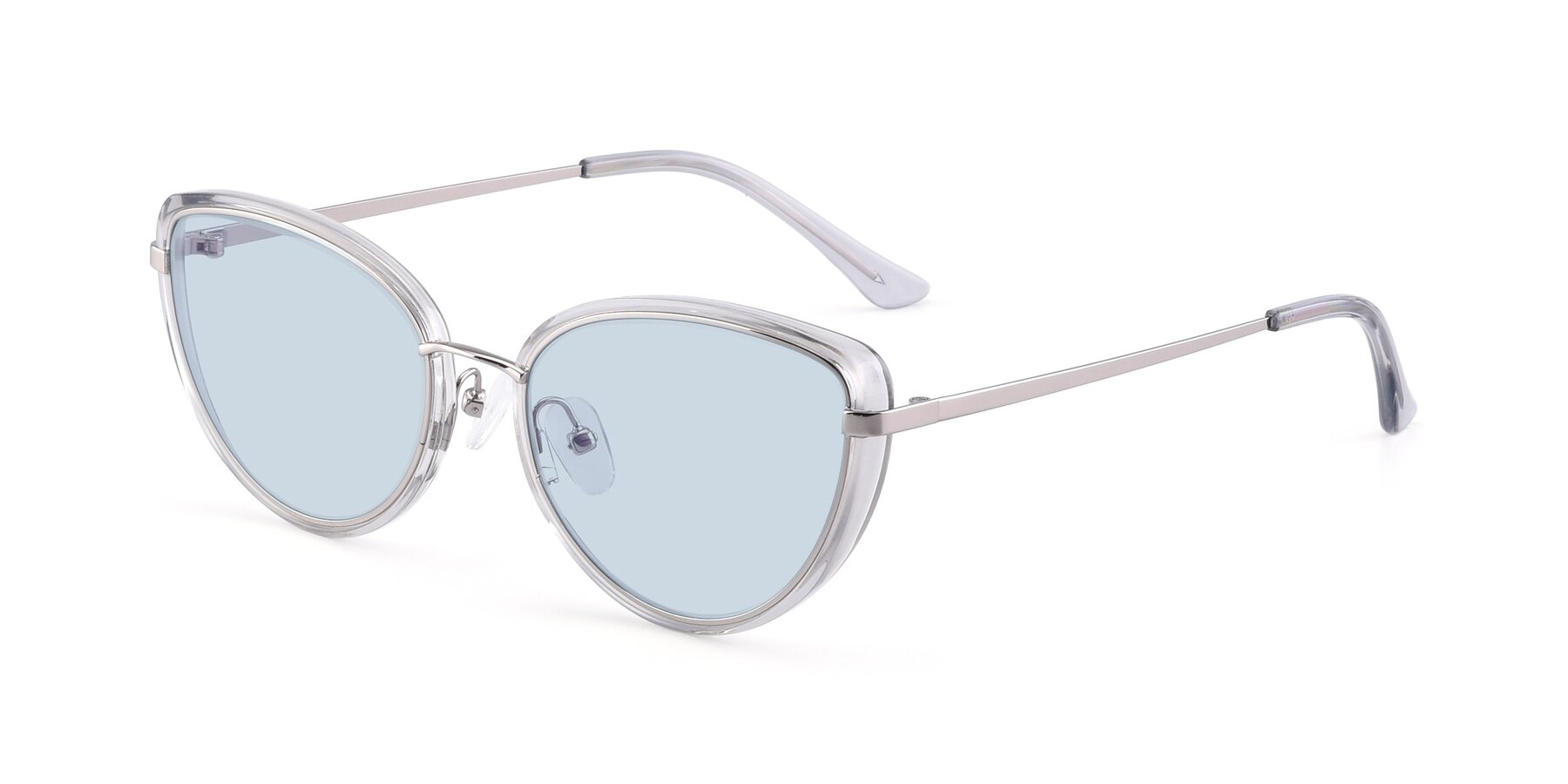 Angle of 17706 in Transparent Grey-Silver with Light Blue Tinted Lenses