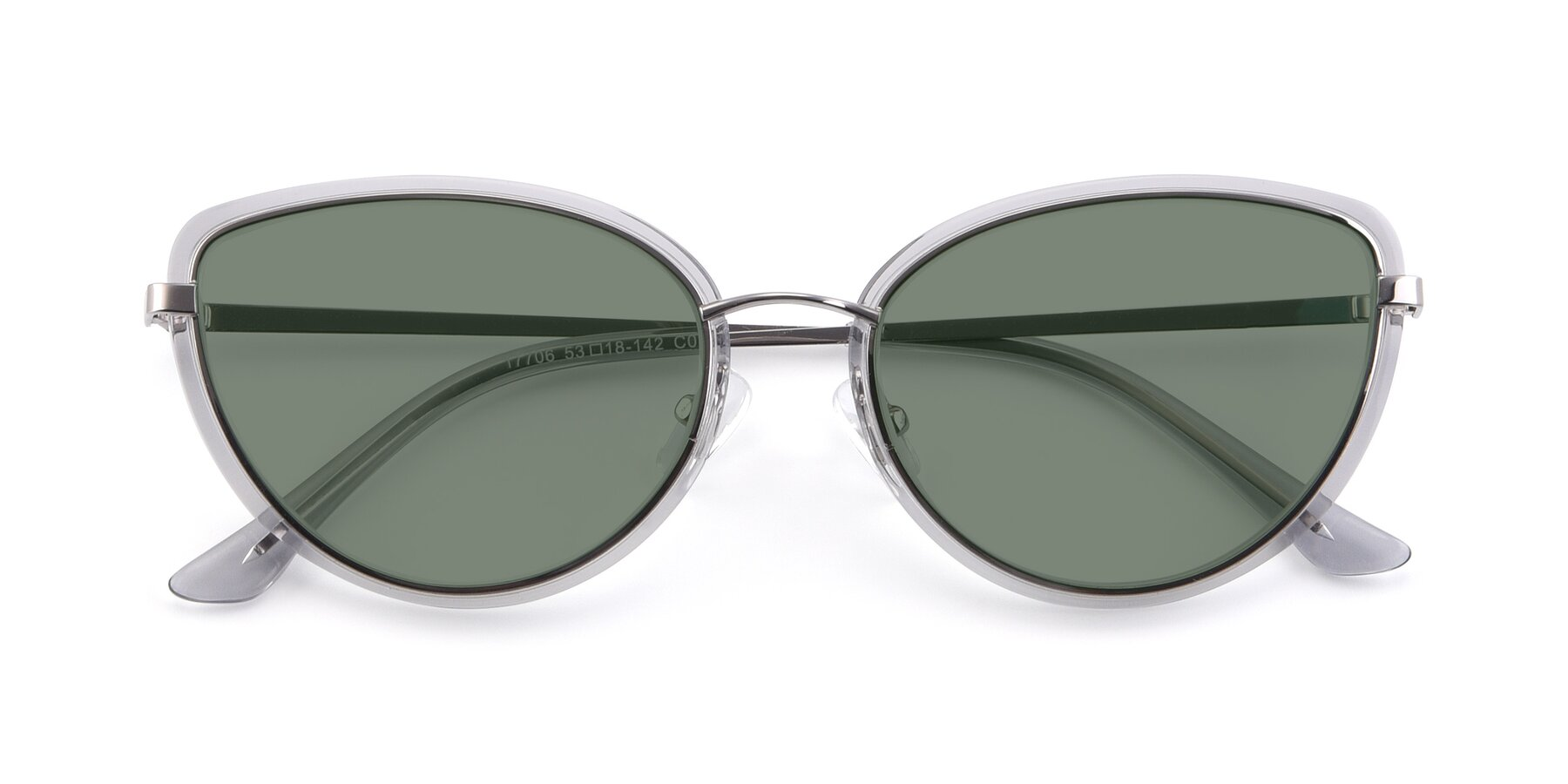 Folded Front of 17706 in Transparent Grey-Silver with Medium Green Tinted Lenses