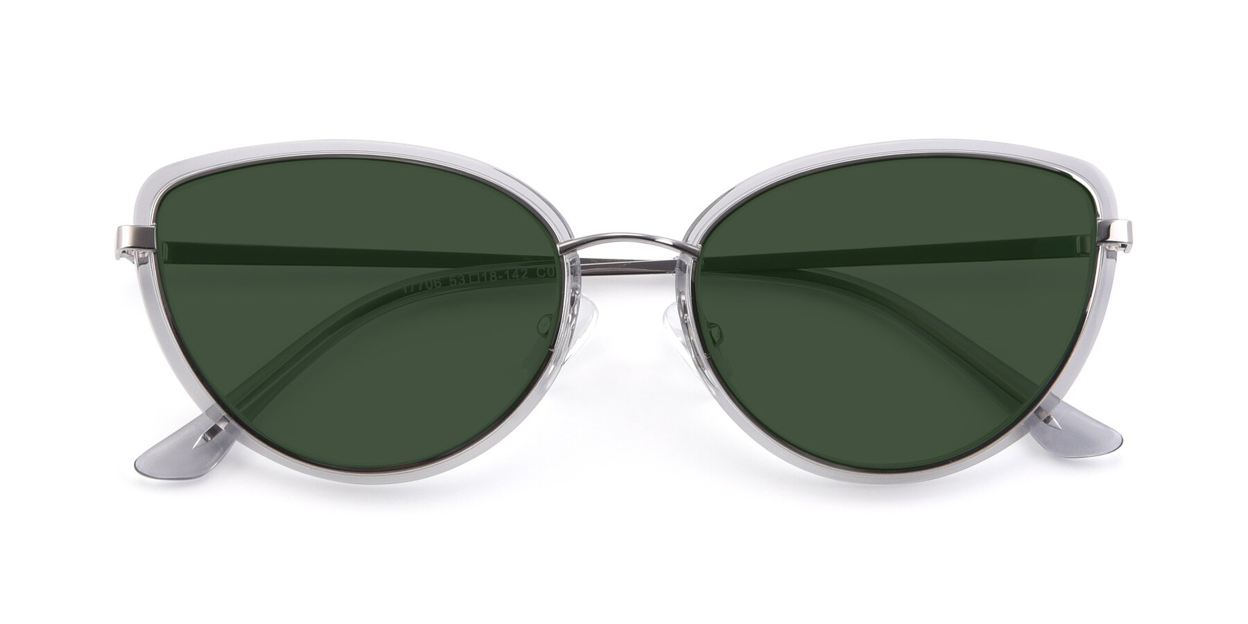 Folded Front of 17706 in Transparent Grey-Silver with Green Tinted Lenses