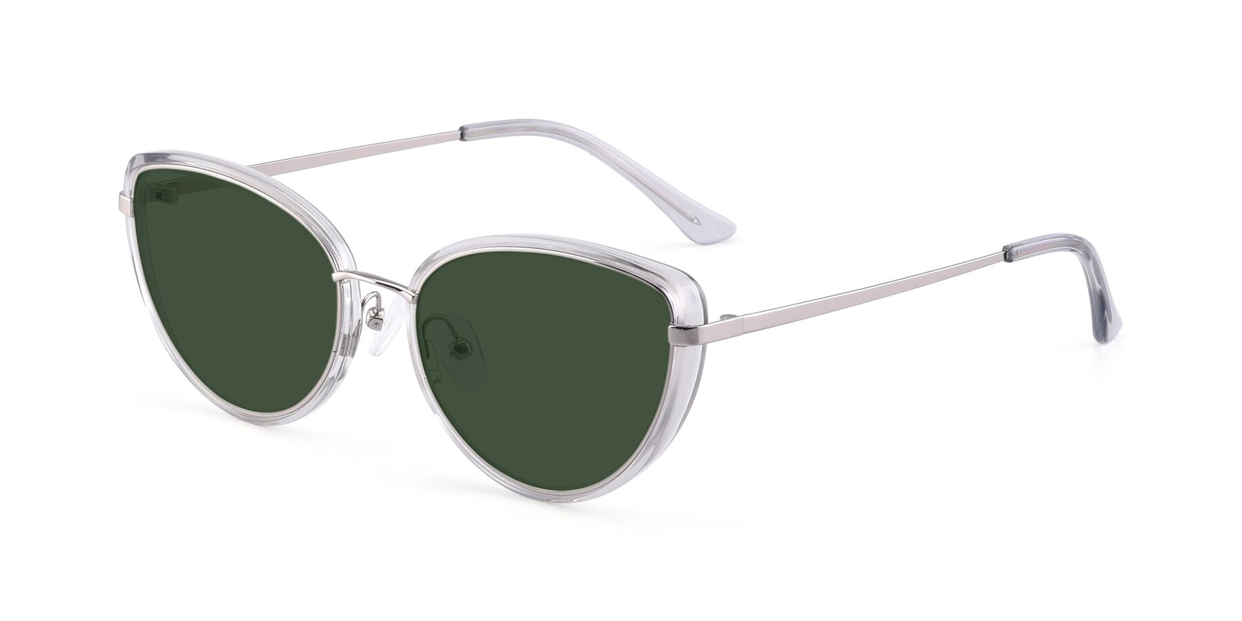 Angle of 17706 in Transparent Grey-Silver with Green Tinted Lenses