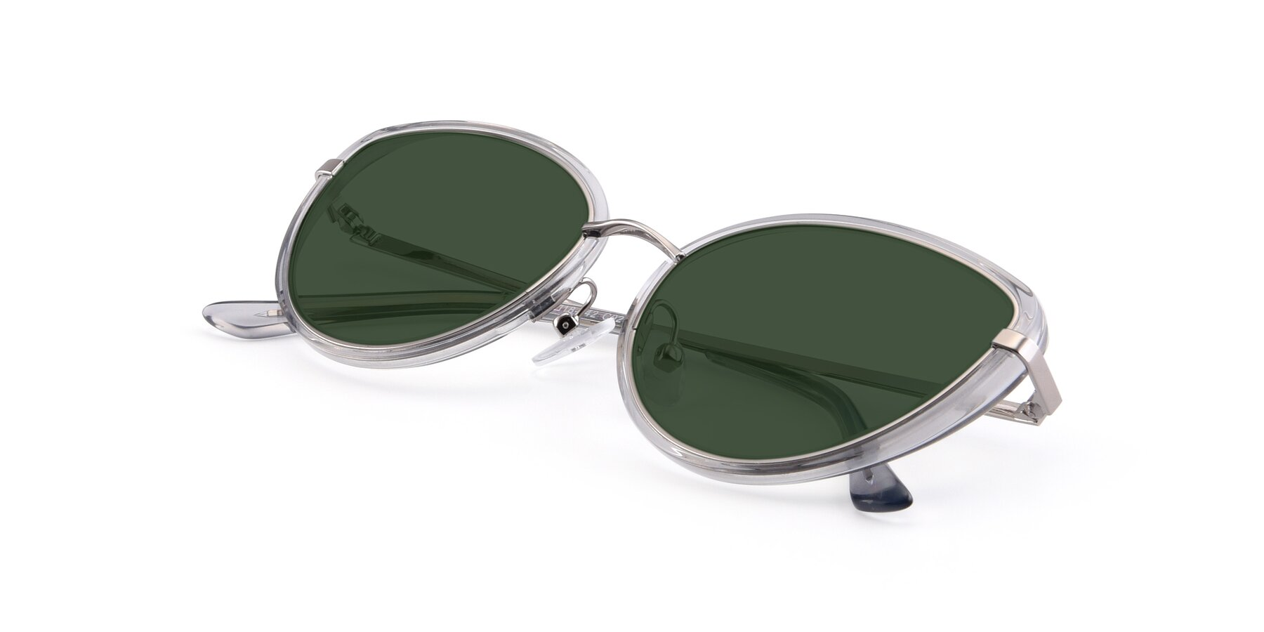 View of 17706 in Transparent Grey-Silver with Green Tinted Lenses
