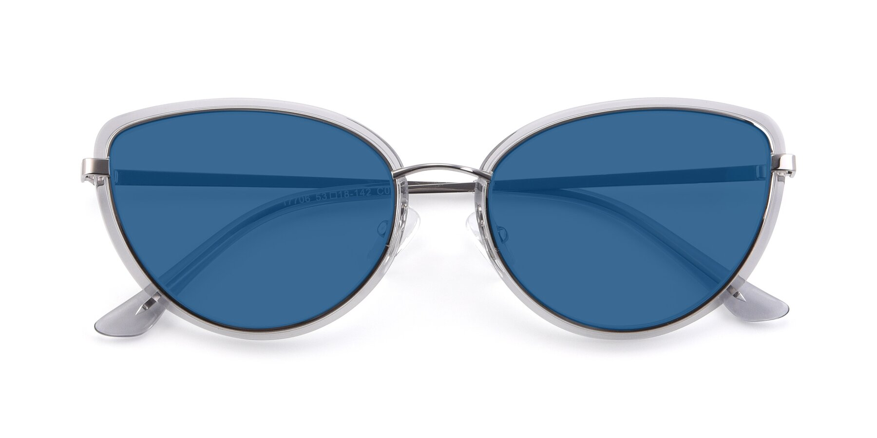 Folded Front of 17706 in Transparent Grey-Silver with Blue Tinted Lenses