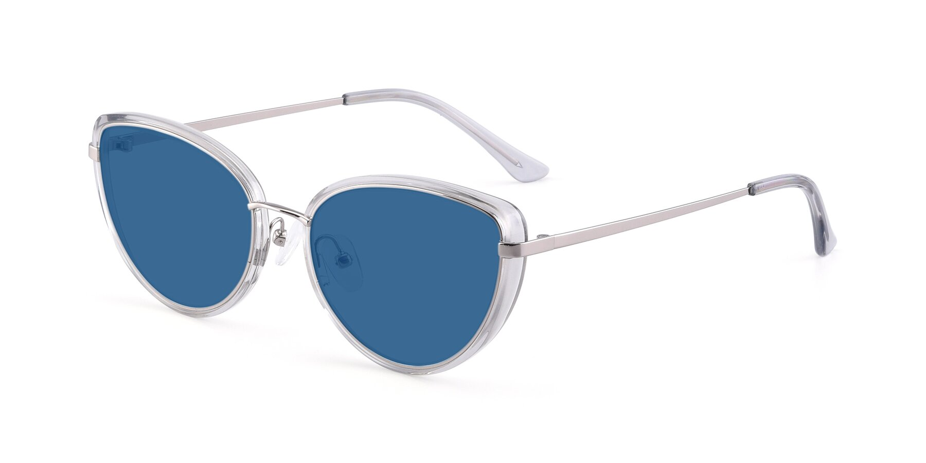 Angle of 17706 in Transparent Grey-Silver with Blue Tinted Lenses