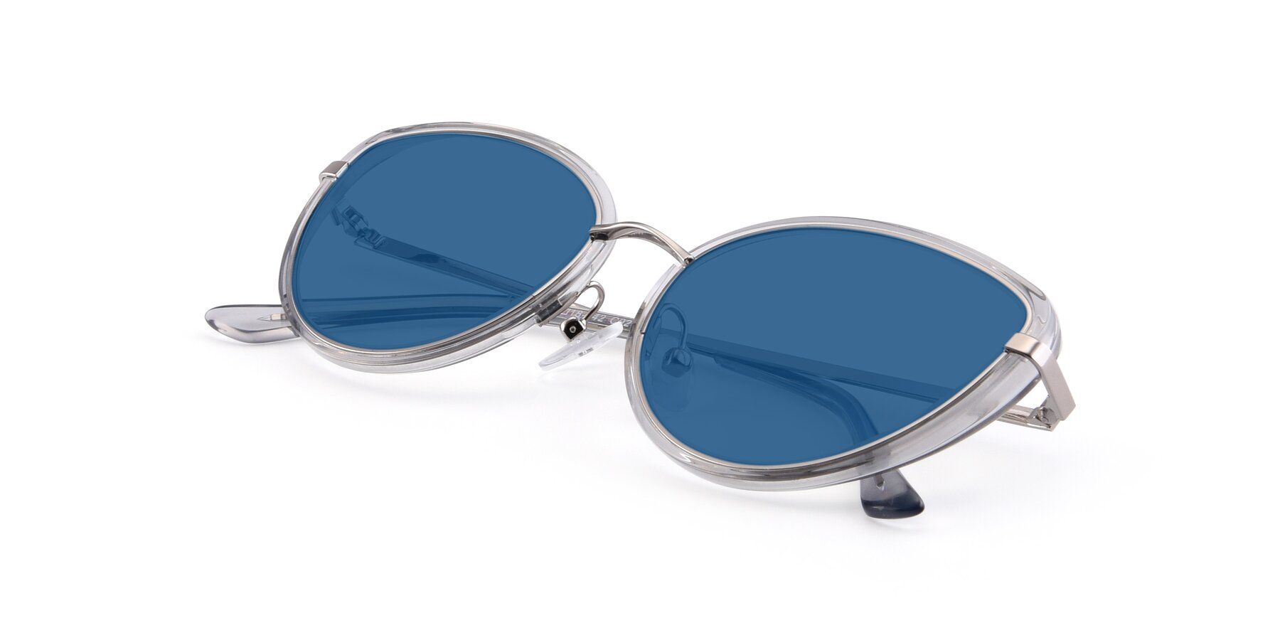 View of 17706 in Transparent Grey-Silver with Blue Tinted Lenses