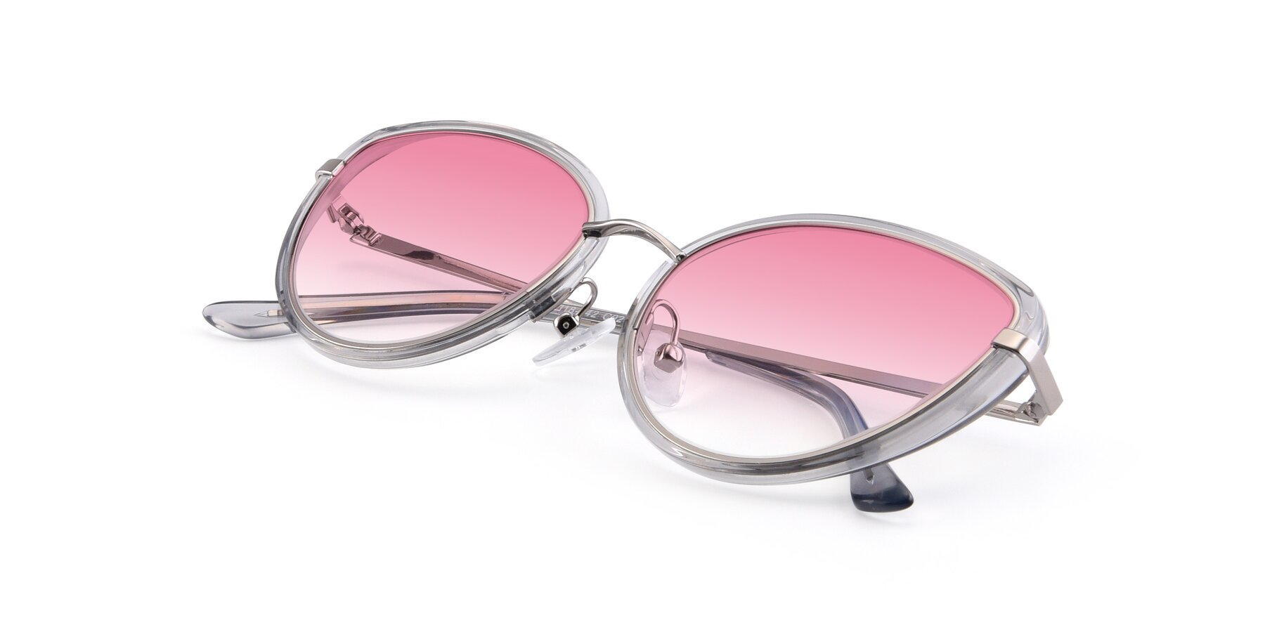 View of 17706 in Transparent Grey-Silver with Pink Gradient Lenses