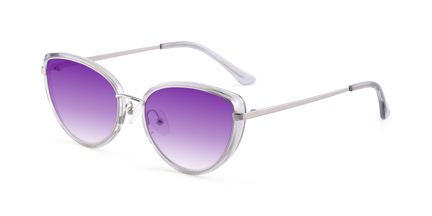 Angle of 17706 in Transparent Grey-Silver with Purple Gradient Lenses
