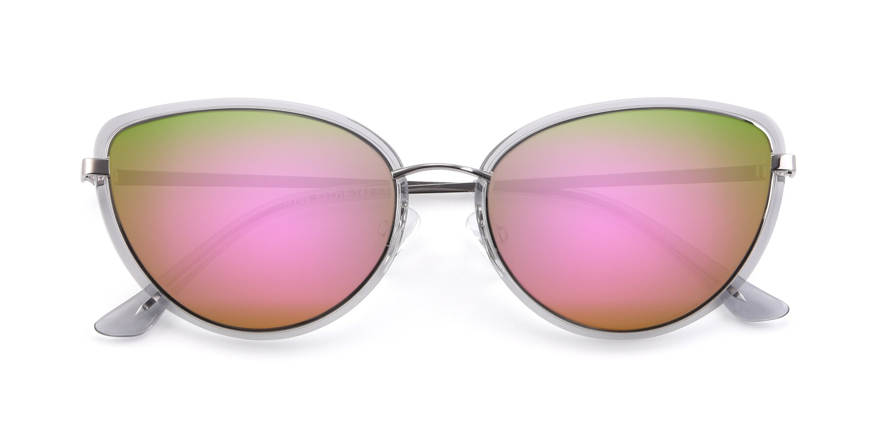 Folded Front of 17706 in Transparent Grey-Silver with Pink Mirrored Lenses