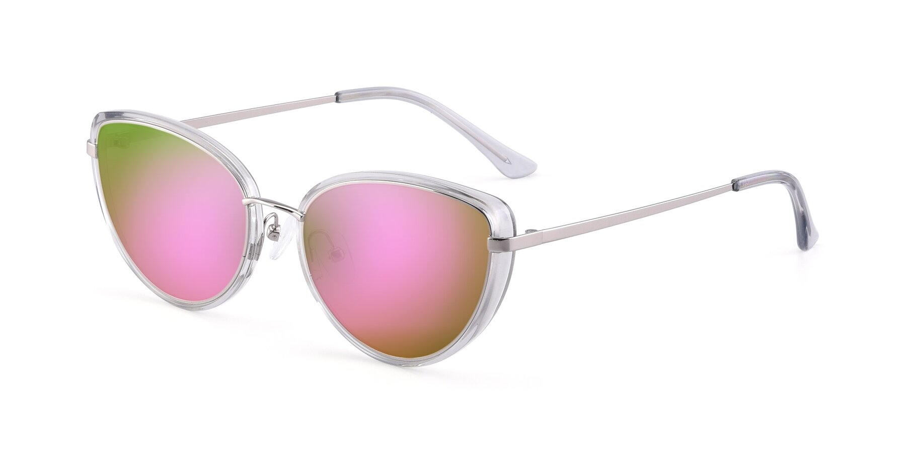 Angle of 17706 in Transparent Grey-Silver with Pink Mirrored Lenses