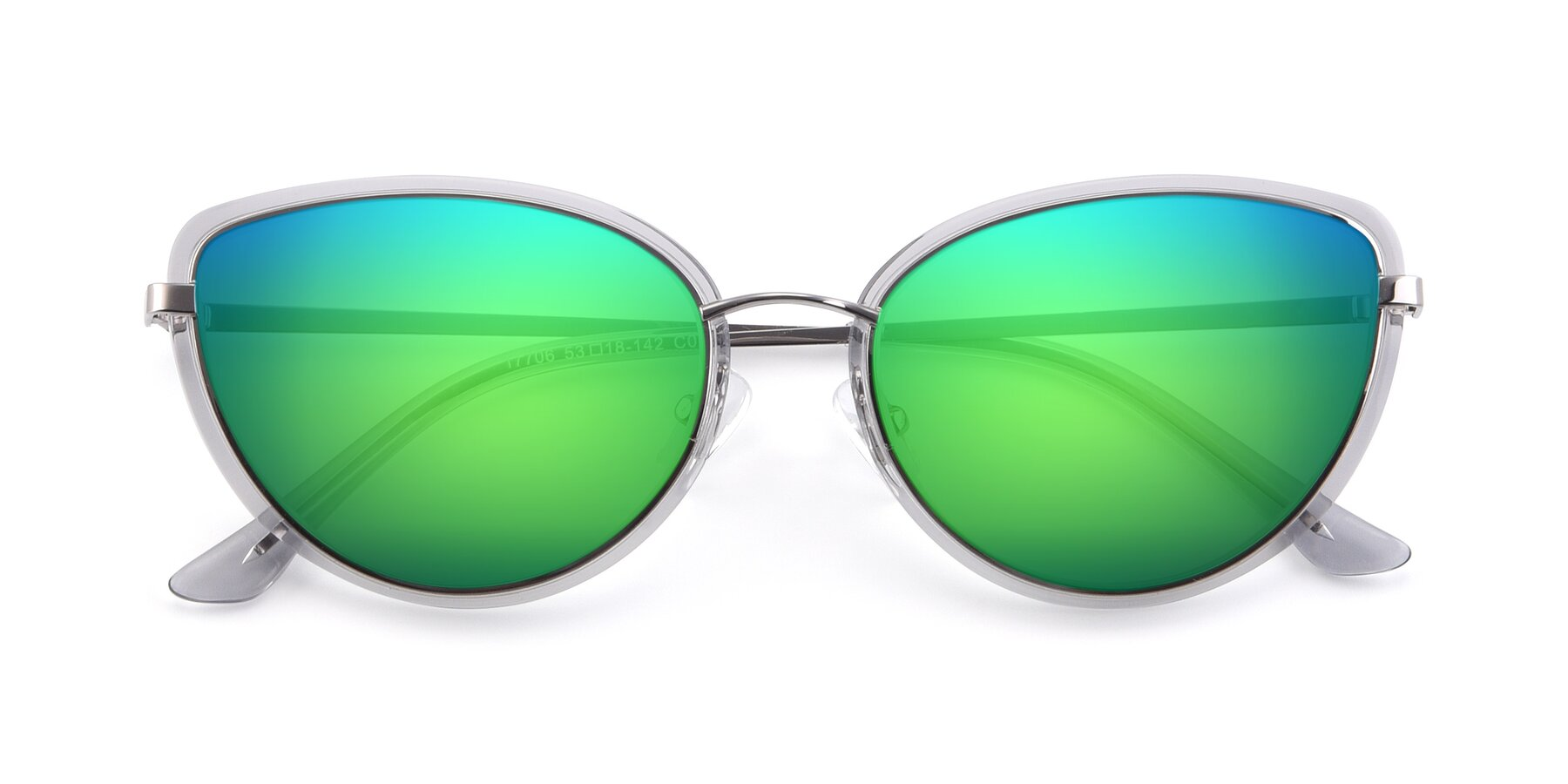 Folded Front of 17706 in Transparent Grey-Silver with Green Mirrored Lenses