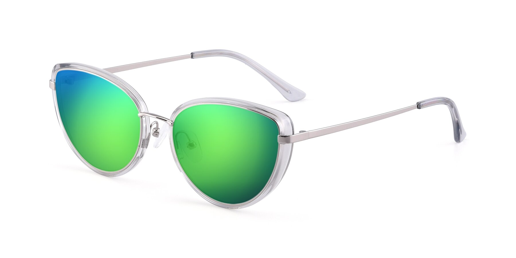 Angle of 17706 in Transparent Grey-Silver with Green Mirrored Lenses