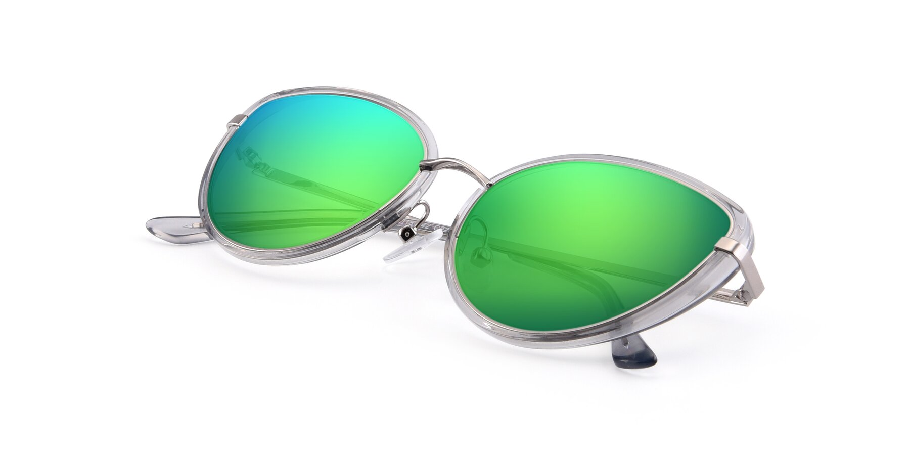 View of 17706 in Transparent Grey-Silver with Green Mirrored Lenses