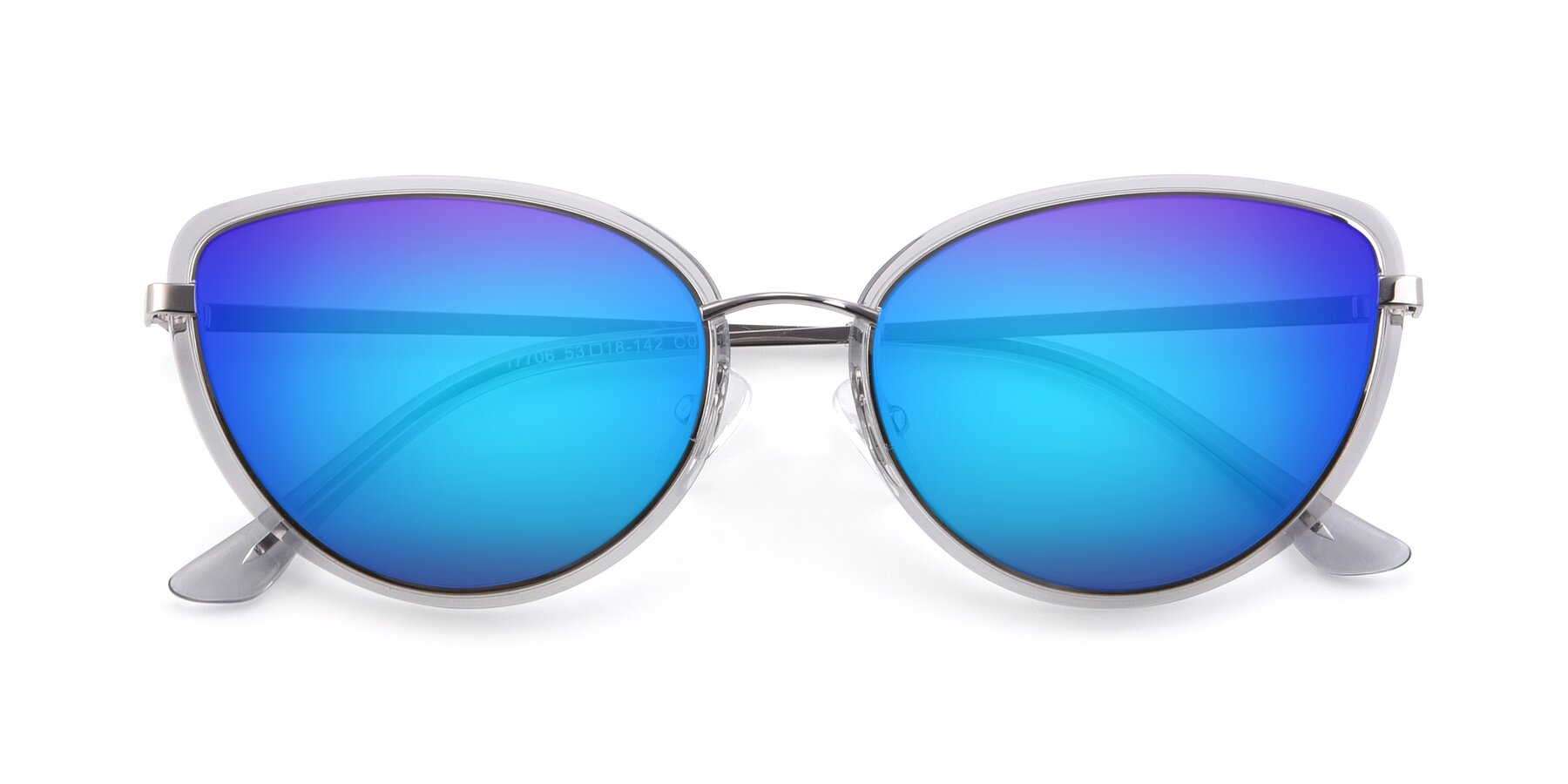 Folded Front of 17706 in Transparent Grey-Silver with Blue Mirrored Lenses