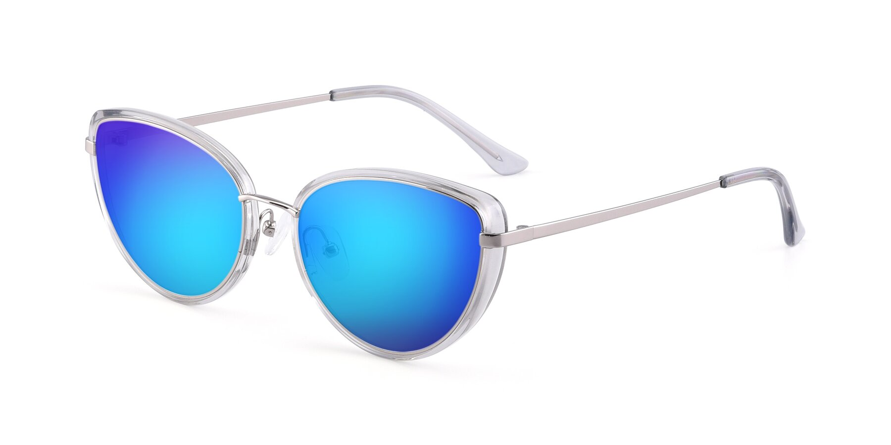 Angle of 17706 in Transparent Grey-Silver with Blue Mirrored Lenses