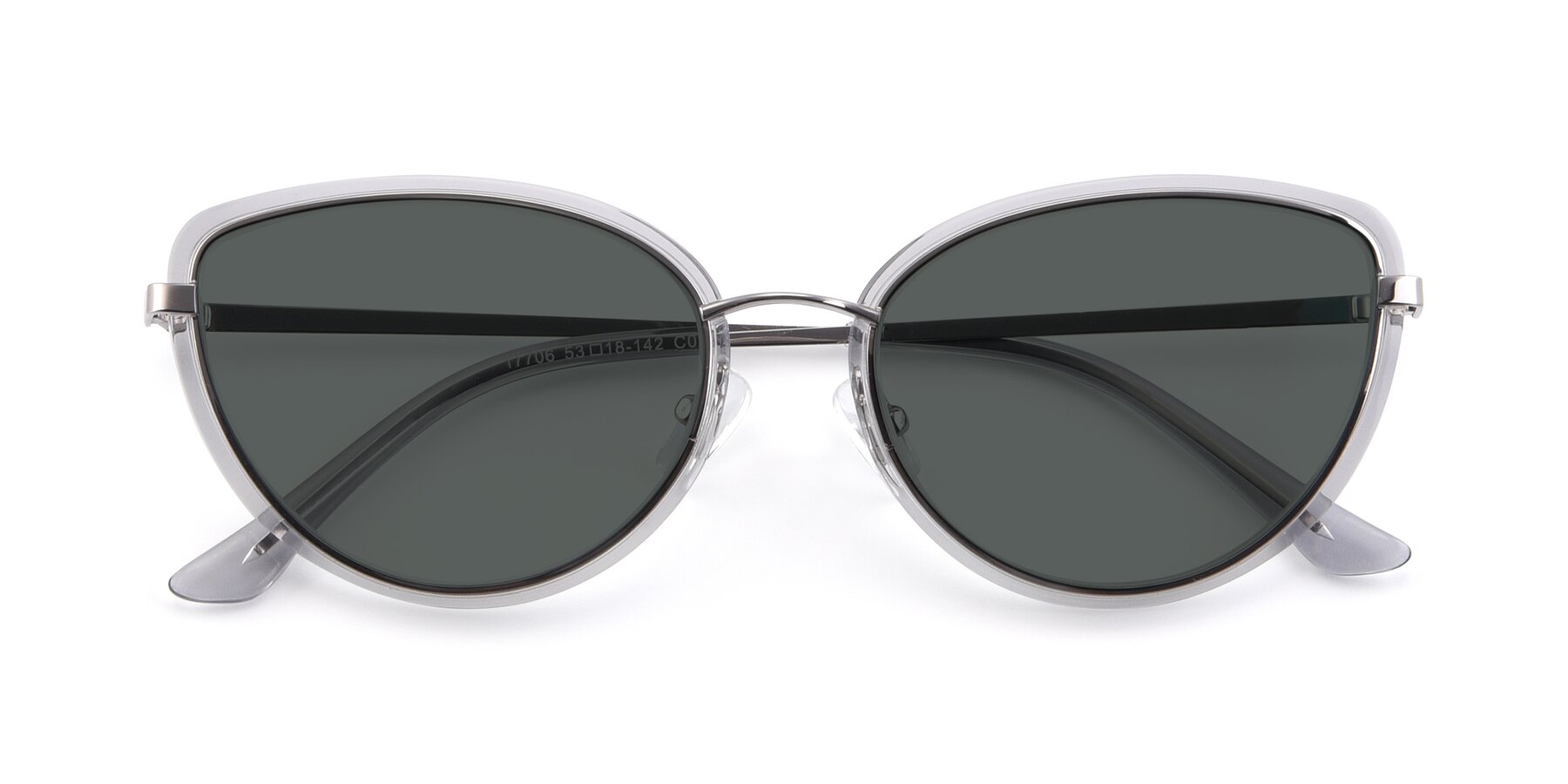 Folded Front of 17706 in Transparent Grey-Silver with Gray Polarized Lenses
