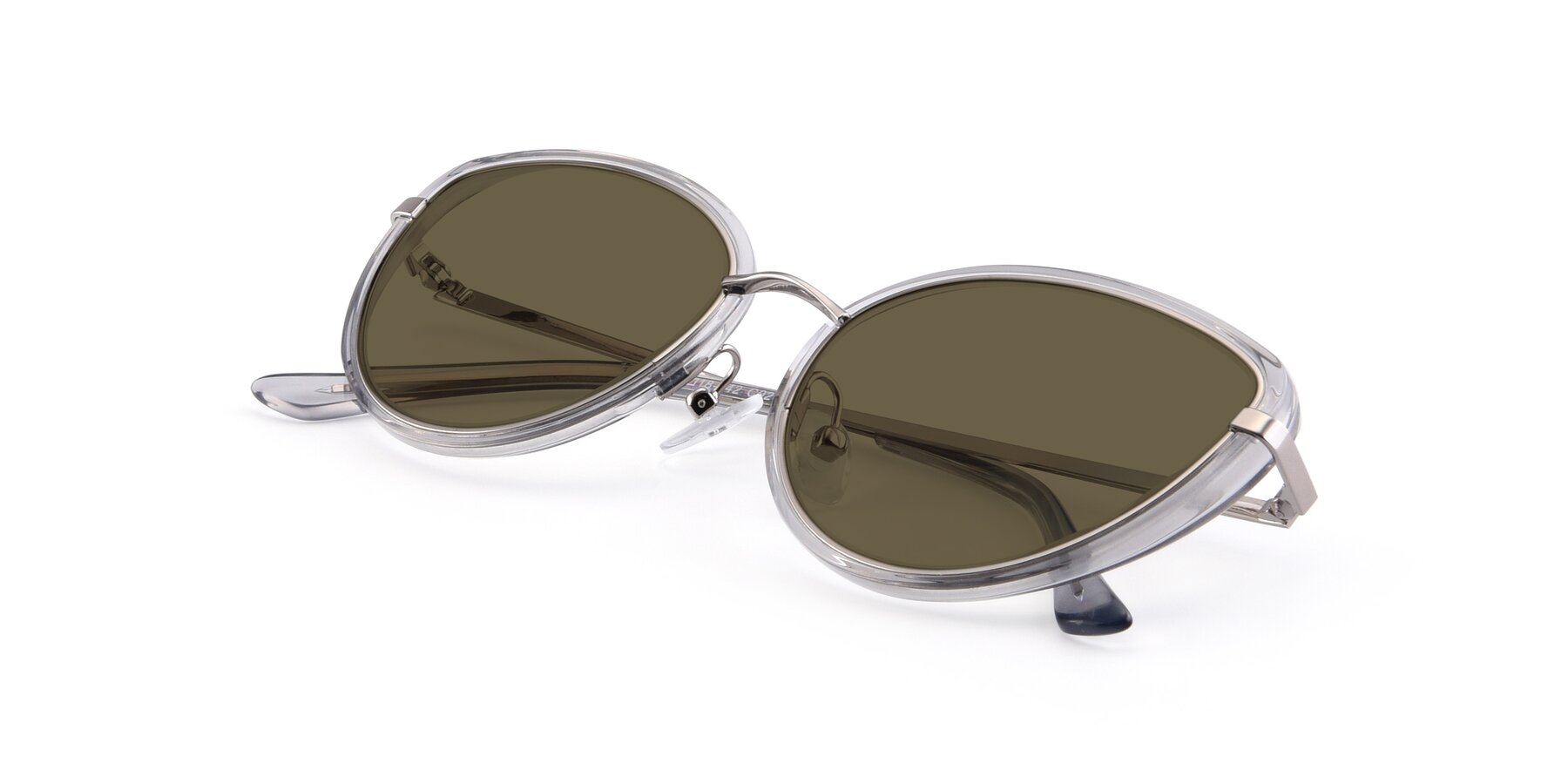 View of 17706 in Transparent Grey-Silver with Brown Polarized Lenses
