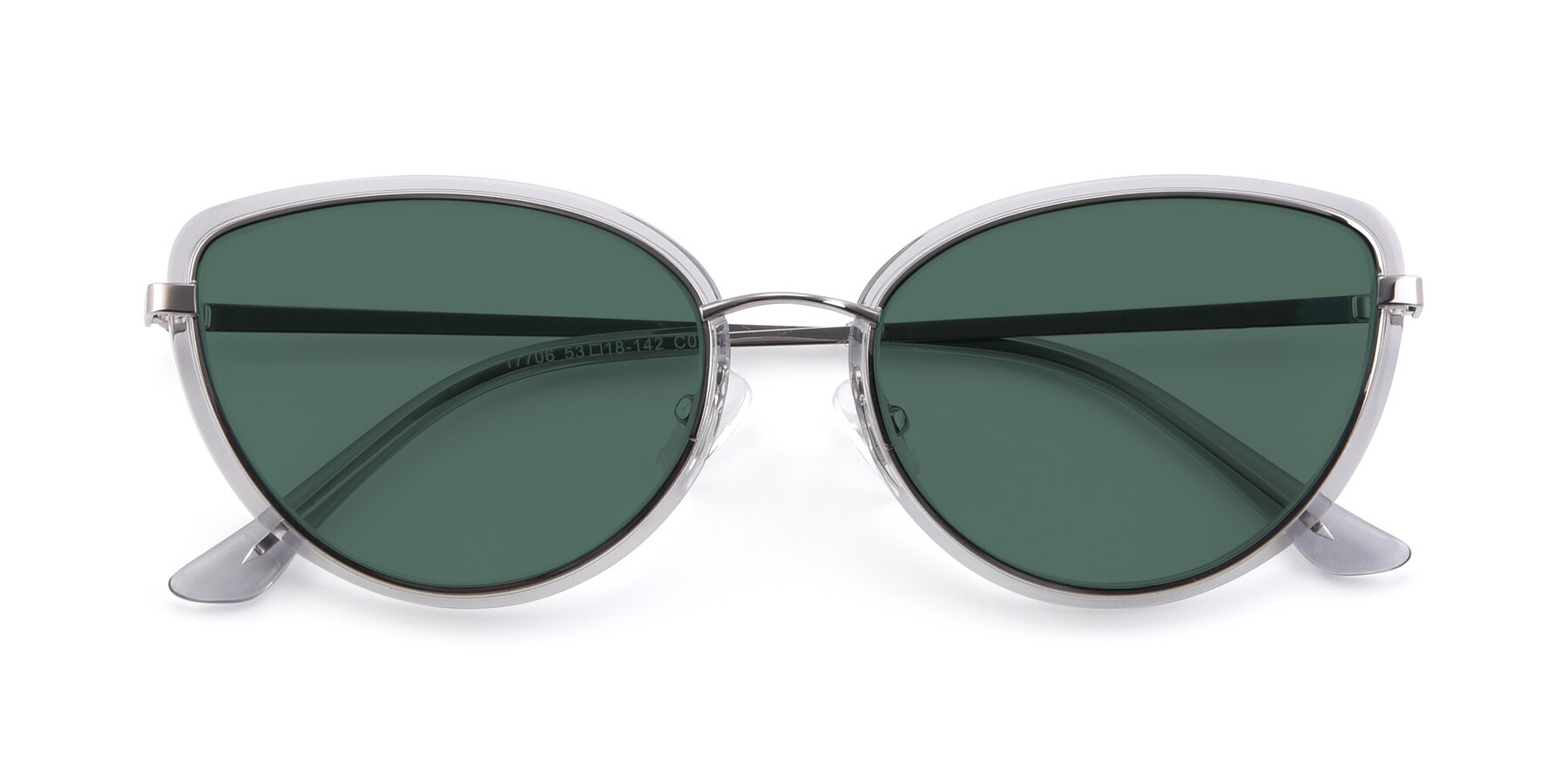 Folded Front of 17706 in Transparent Grey-Silver with Green Polarized Lenses