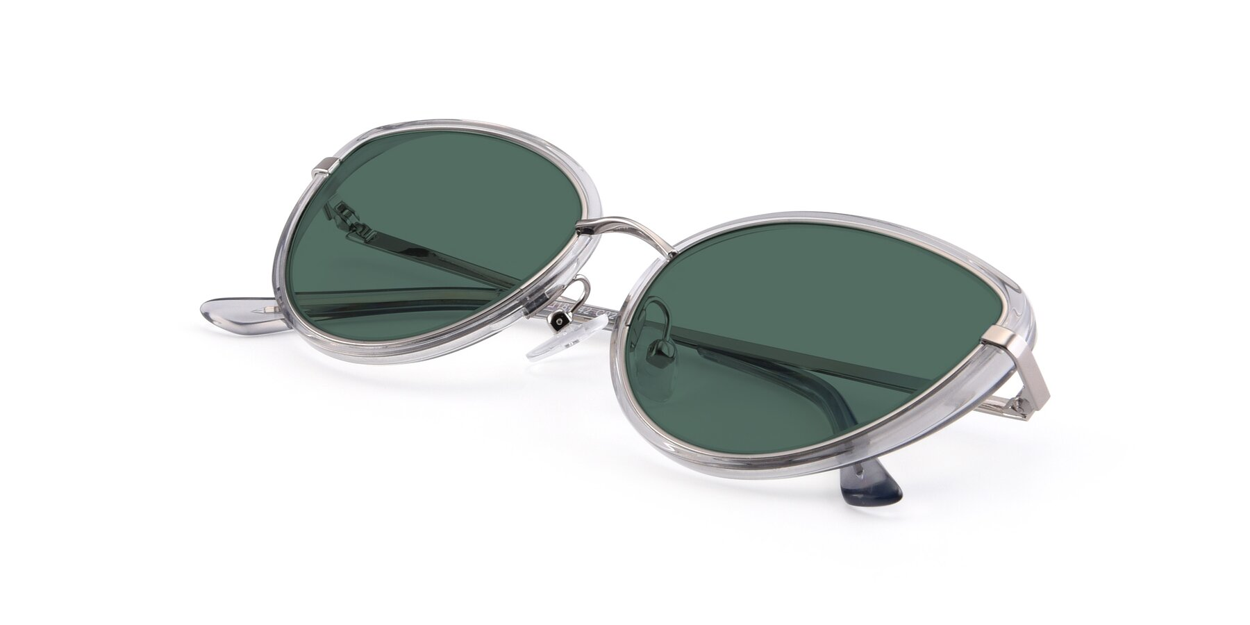 View of 17706 in Transparent Grey-Silver with Green Polarized Lenses