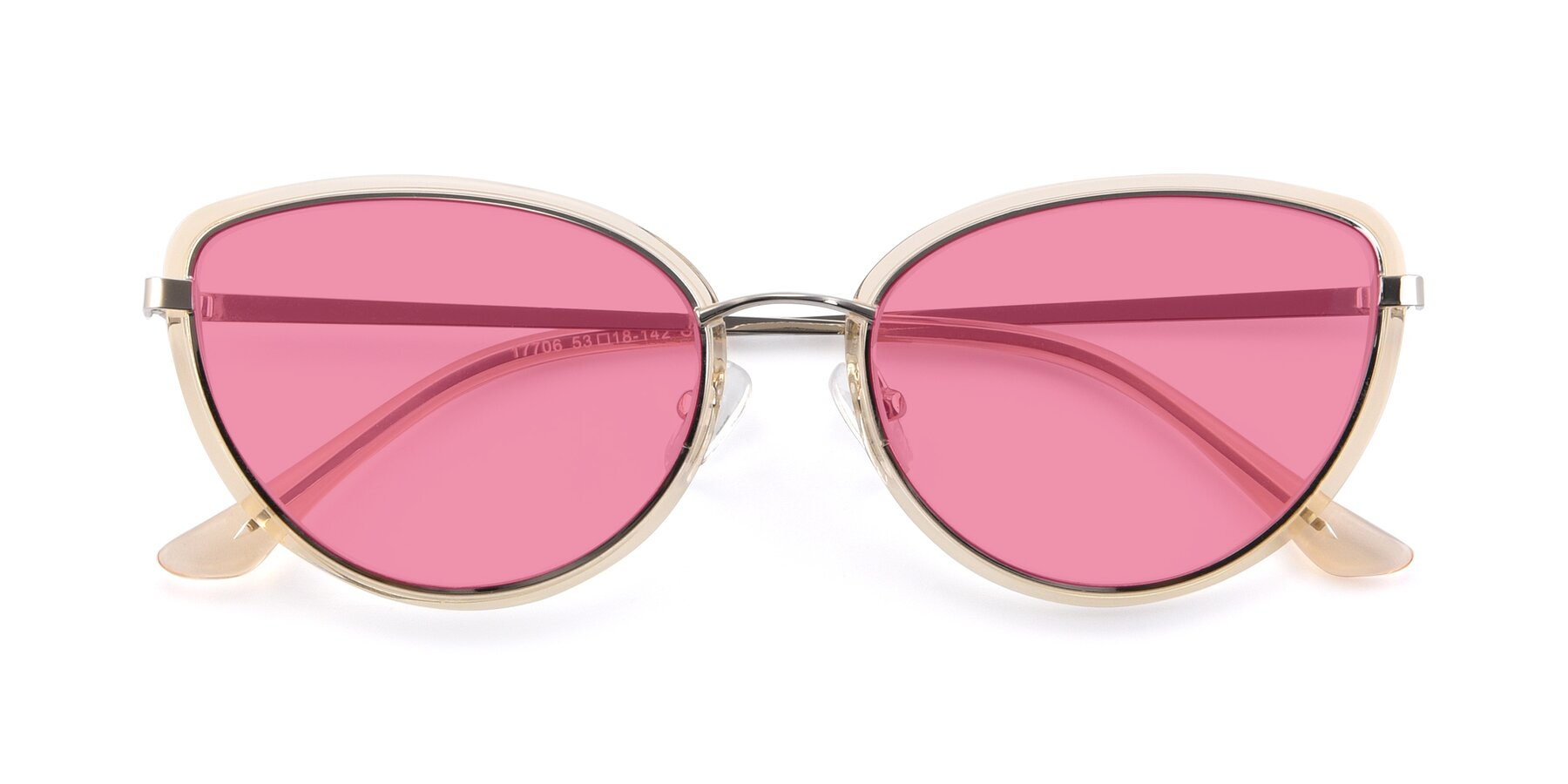 Folded Front of 17706 in Transparent Caramel-Silver with Pink Tinted Lenses