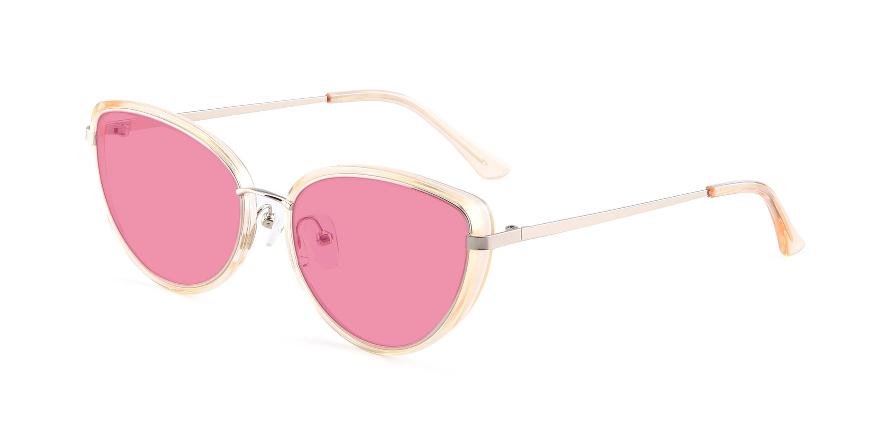 Angle of 17706 in Transparent Caramel-Silver with Pink Tinted Lenses