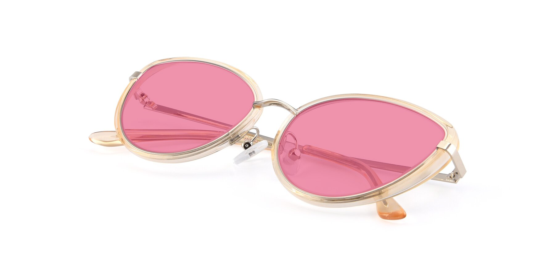 View of 17706 in Transparent Caramel-Silver with Pink Tinted Lenses