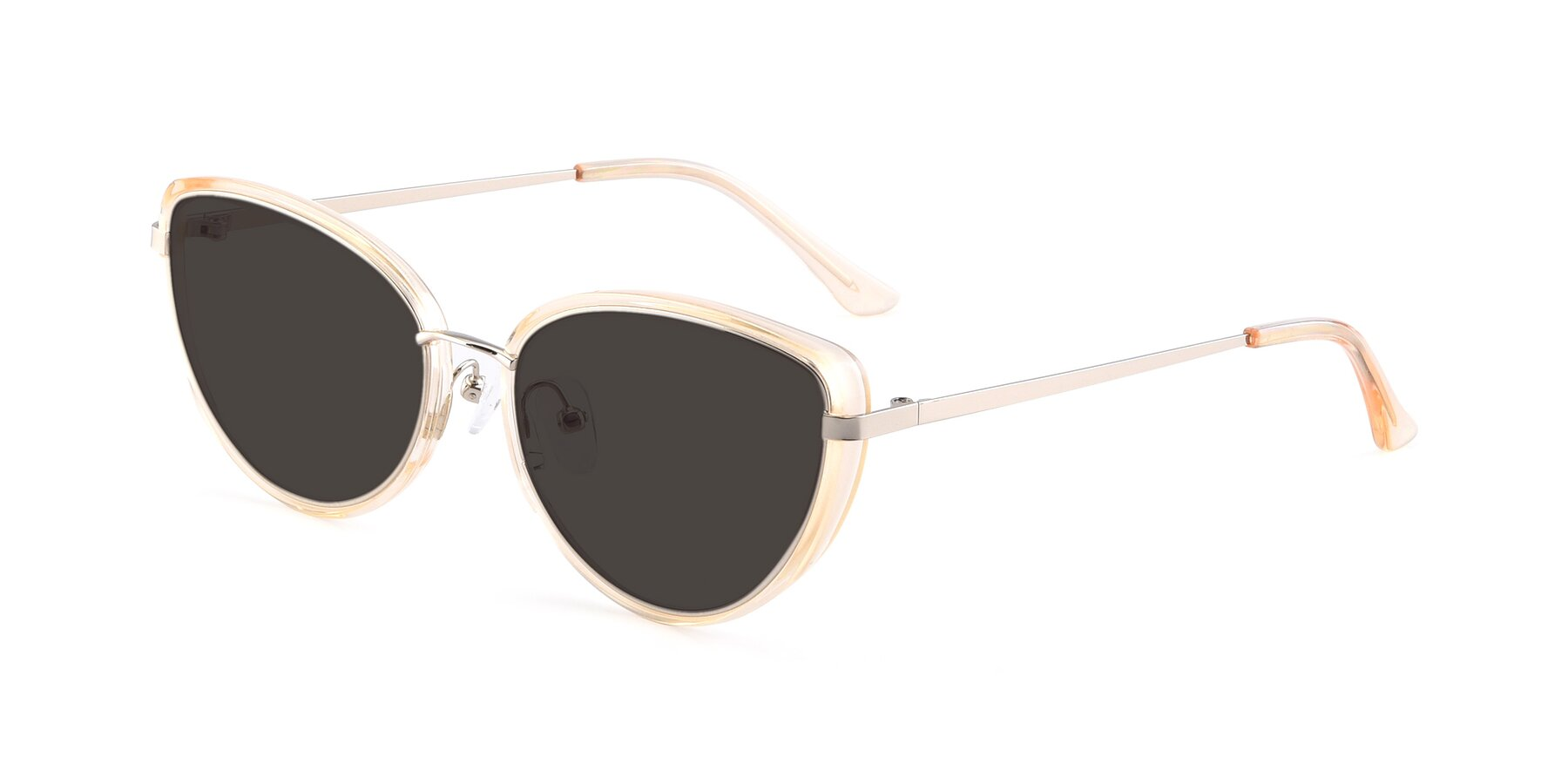 Angle of 17706 in Transparent Caramel-Silver with Gray Tinted Lenses