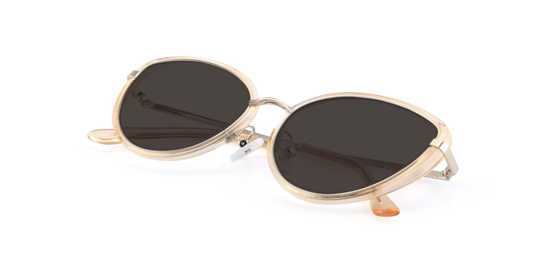 View of 17706 in Transparent Caramel-Silver with Gray Tinted Lenses