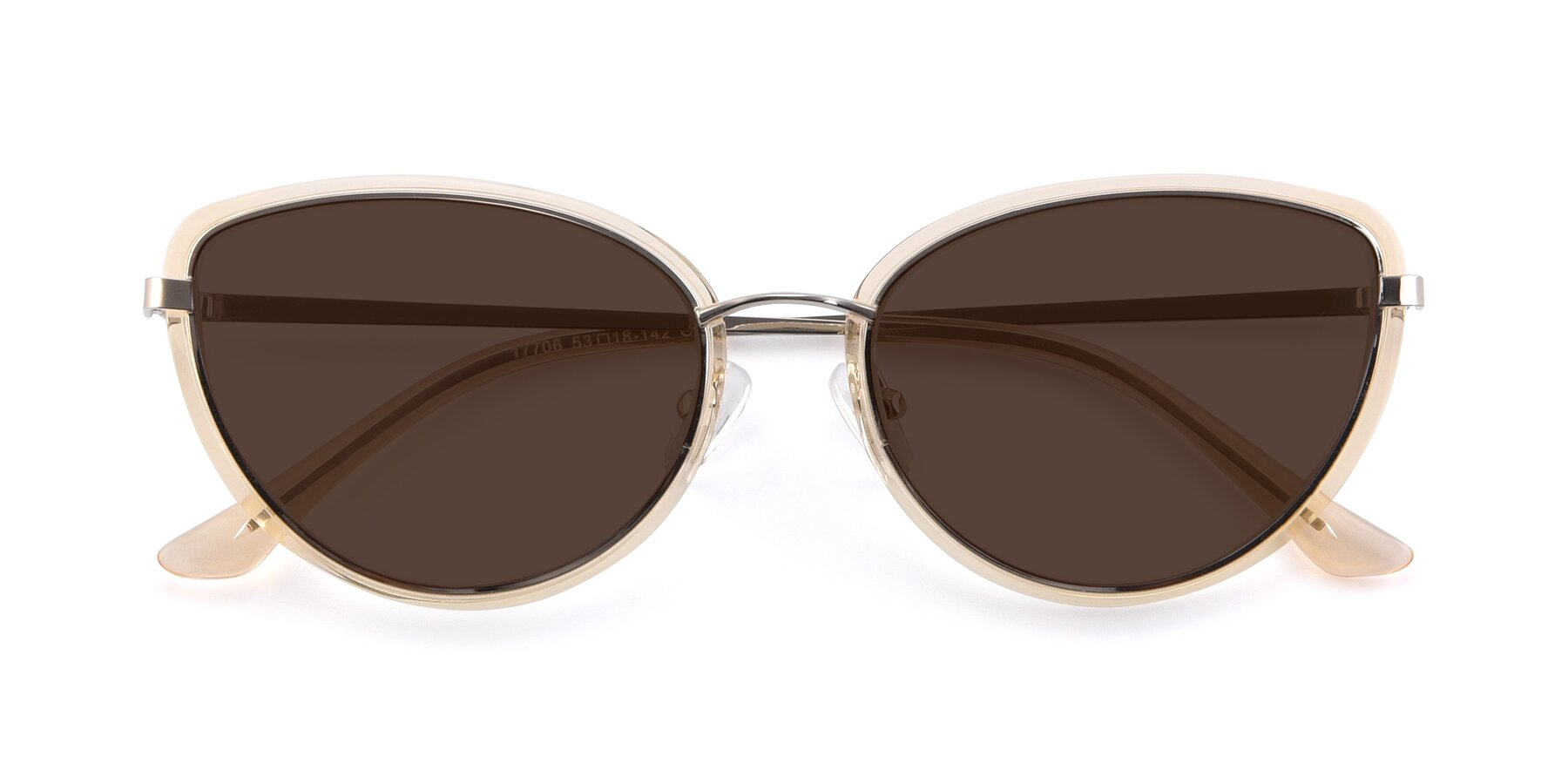 Folded Front of 17706 in Transparent Caramel-Silver with Brown Tinted Lenses