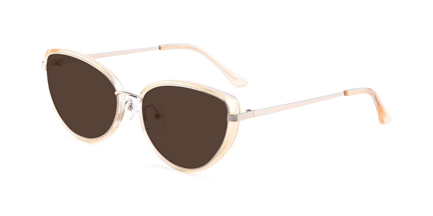 Angle of 17706 in Transparent Caramel-Silver with Brown Tinted Lenses